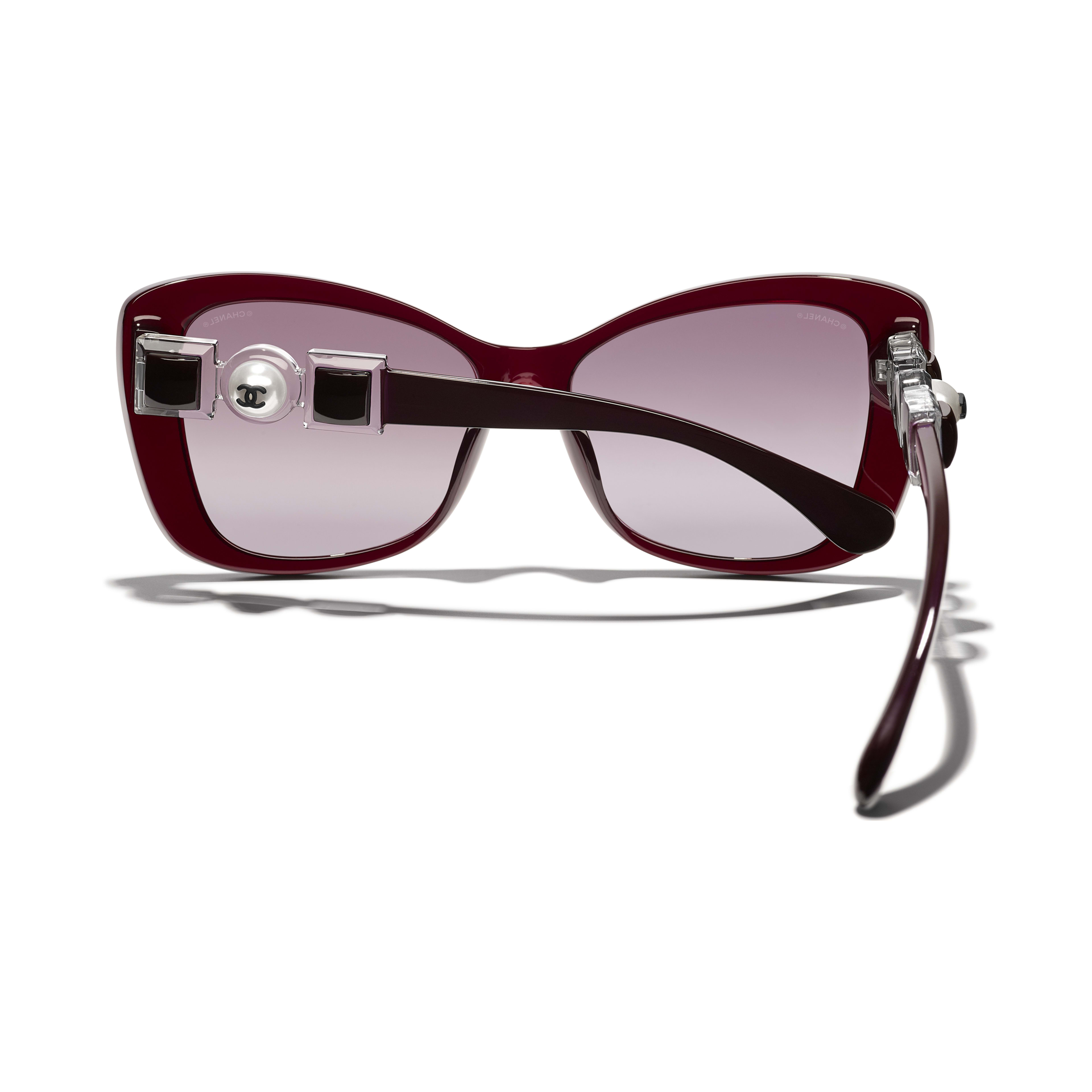 Butterfly Sunglasses - Dark Red - Acetate & Glass Pearls - CHANEL - Extra view - see standard sized version