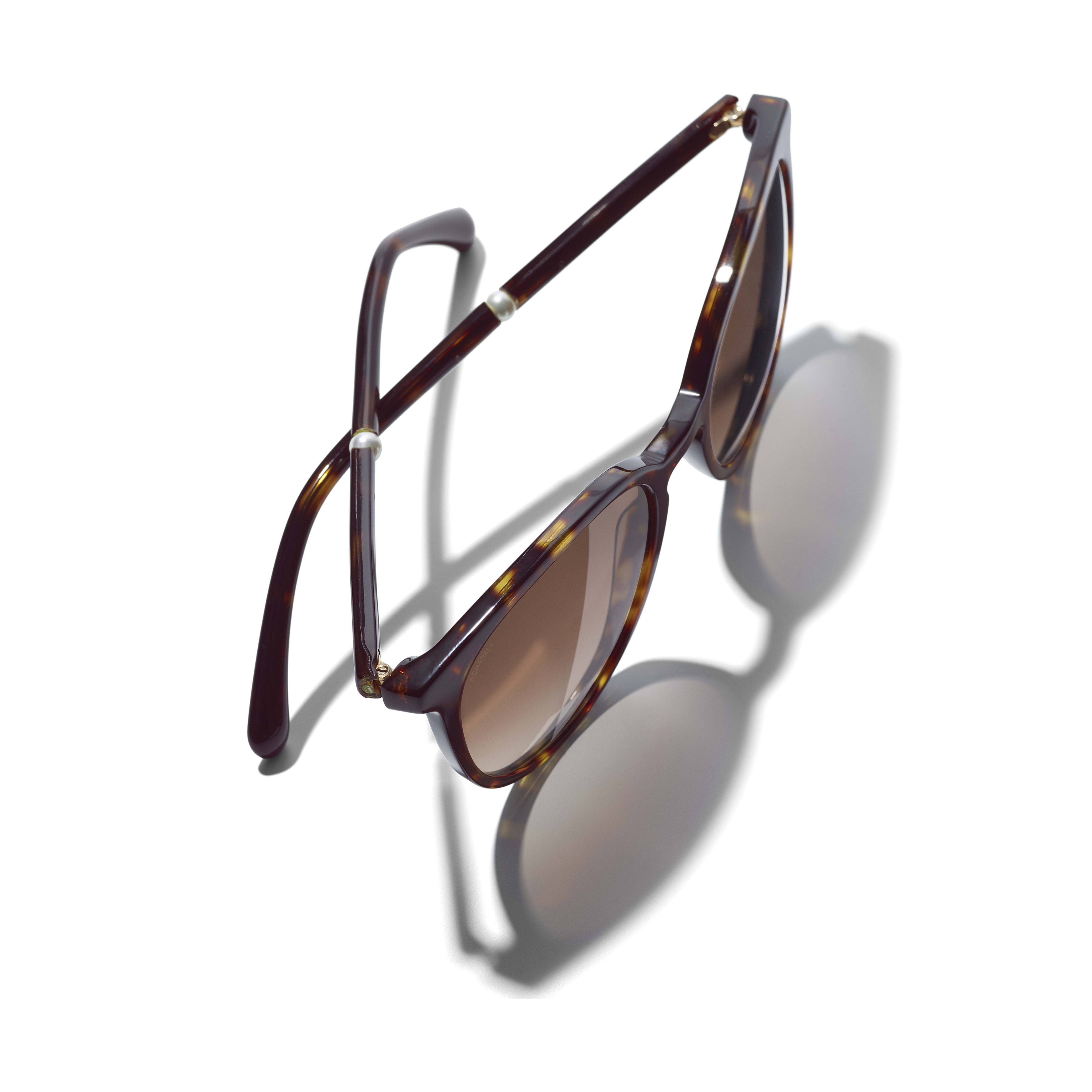 Butterfly Sunglasses - Dark Tortoise - Acetate & Imitation Pearls - Polarized Lenses - Extra view - see standard sized version