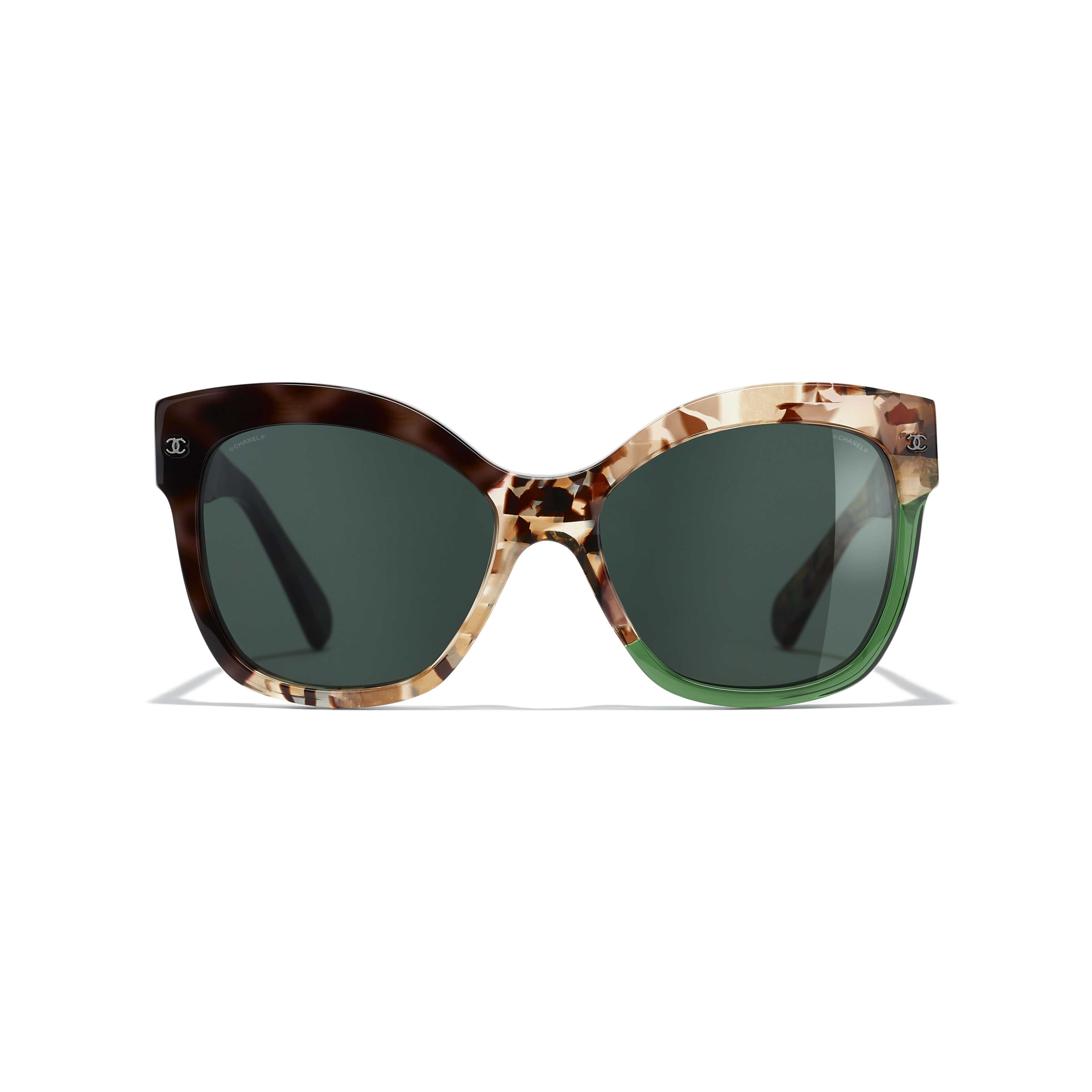 Butterfly Sunglasses - Dark Tortoise & Green - Acetate - CHANEL - Alternative view - see standard sized version