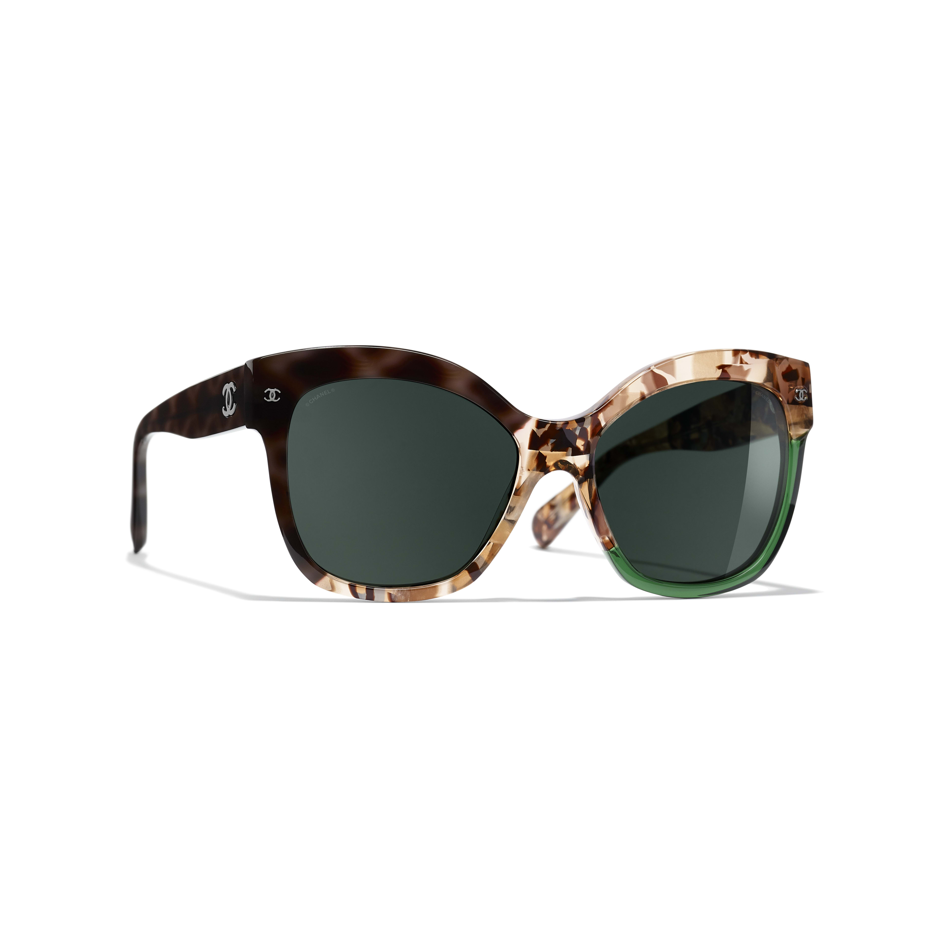 Butterfly Sunglasses - Dark Tortoise & Green - Acetate - CHANEL - Default view - see standard sized version