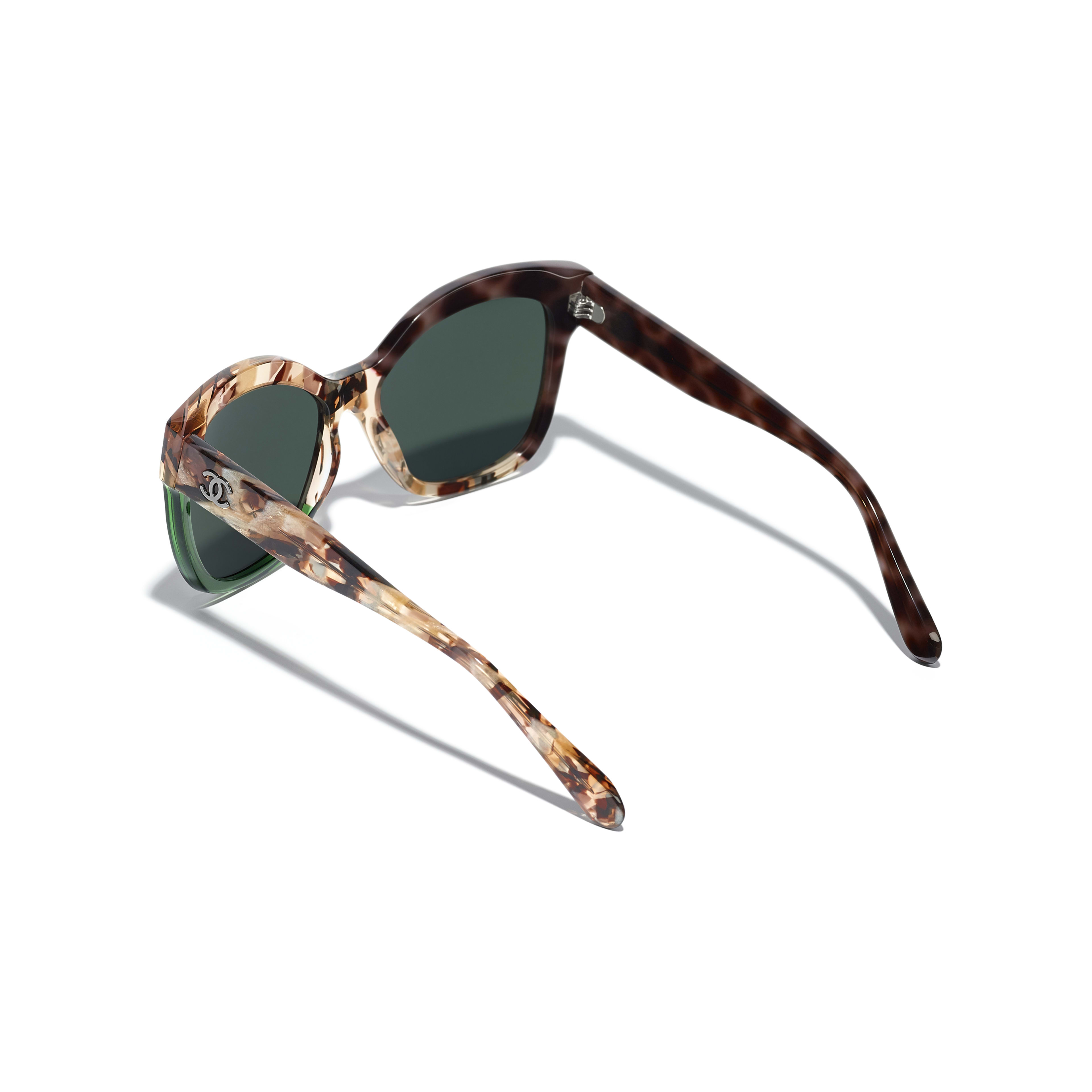 Butterfly Sunglasses - Dark Tortoise & Green - Acetate - CHANEL - Extra view - see standard sized version