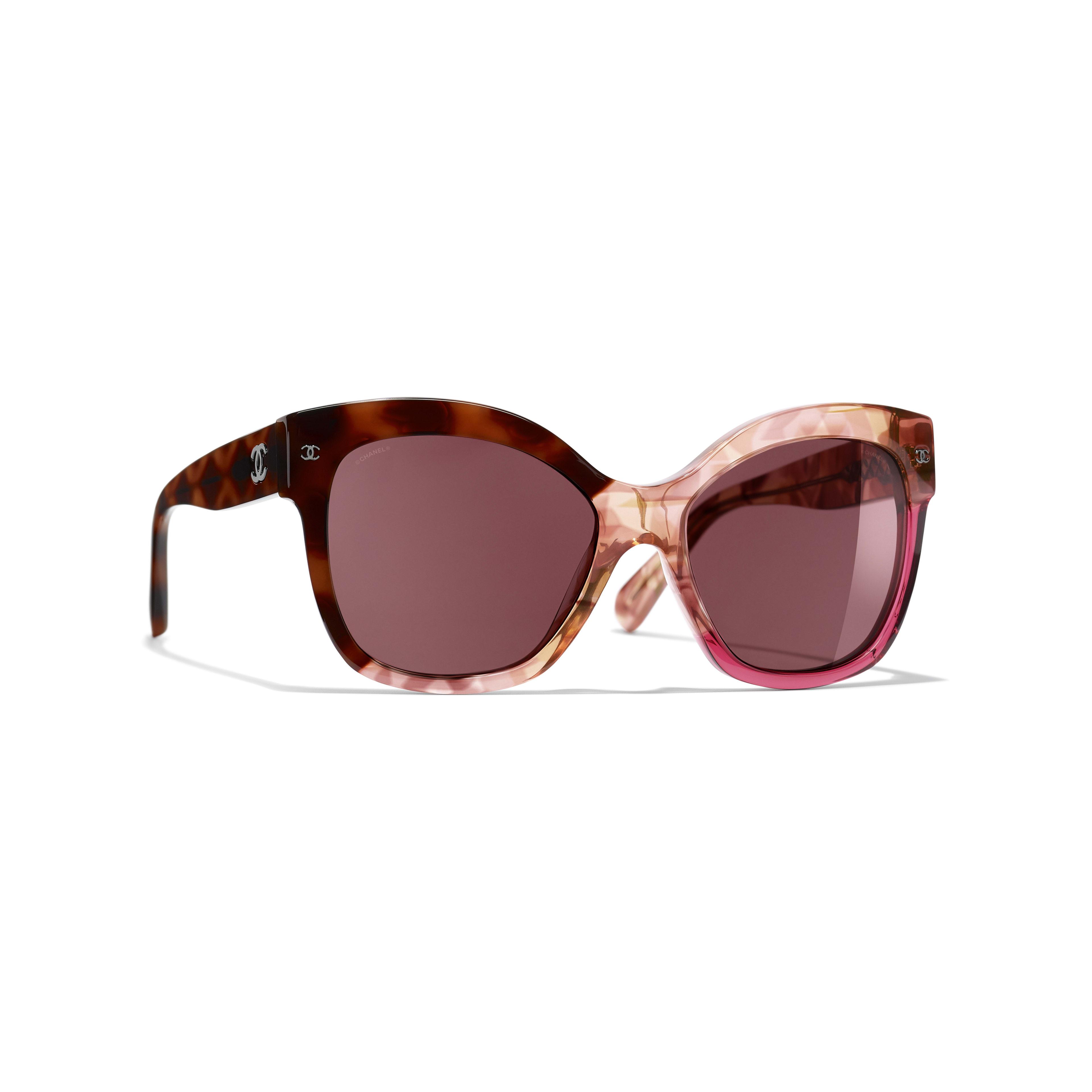Okulary przeciwsłoneczne motyle - Kolor ciemnoszylkretowy i różowy - Acetat - Widok domyślny – zobacz w standardowym rozmiarze