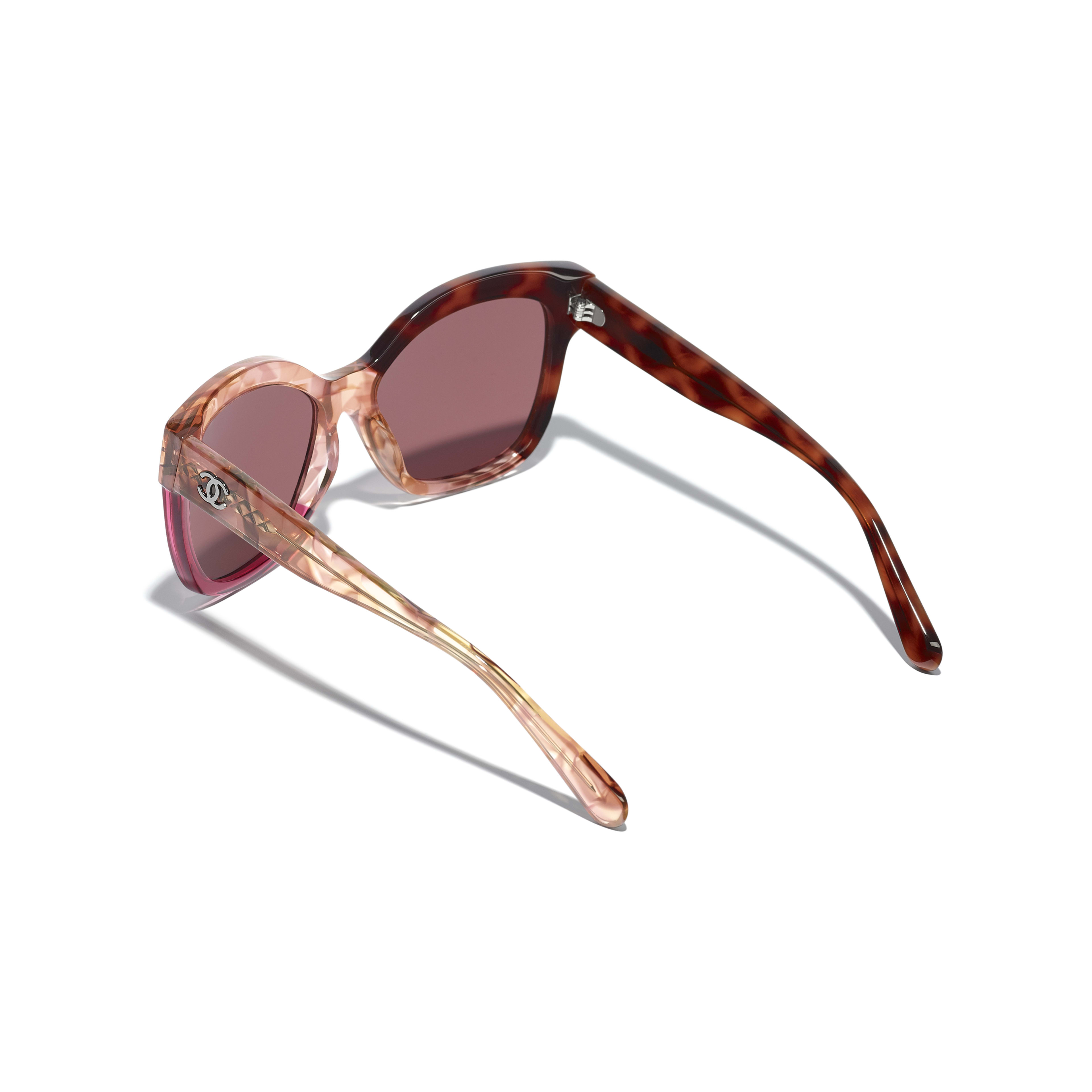 Butterfly Sunglasses - Dark Tortoise & Pink - Acetate - Extra view - see standard sized version
