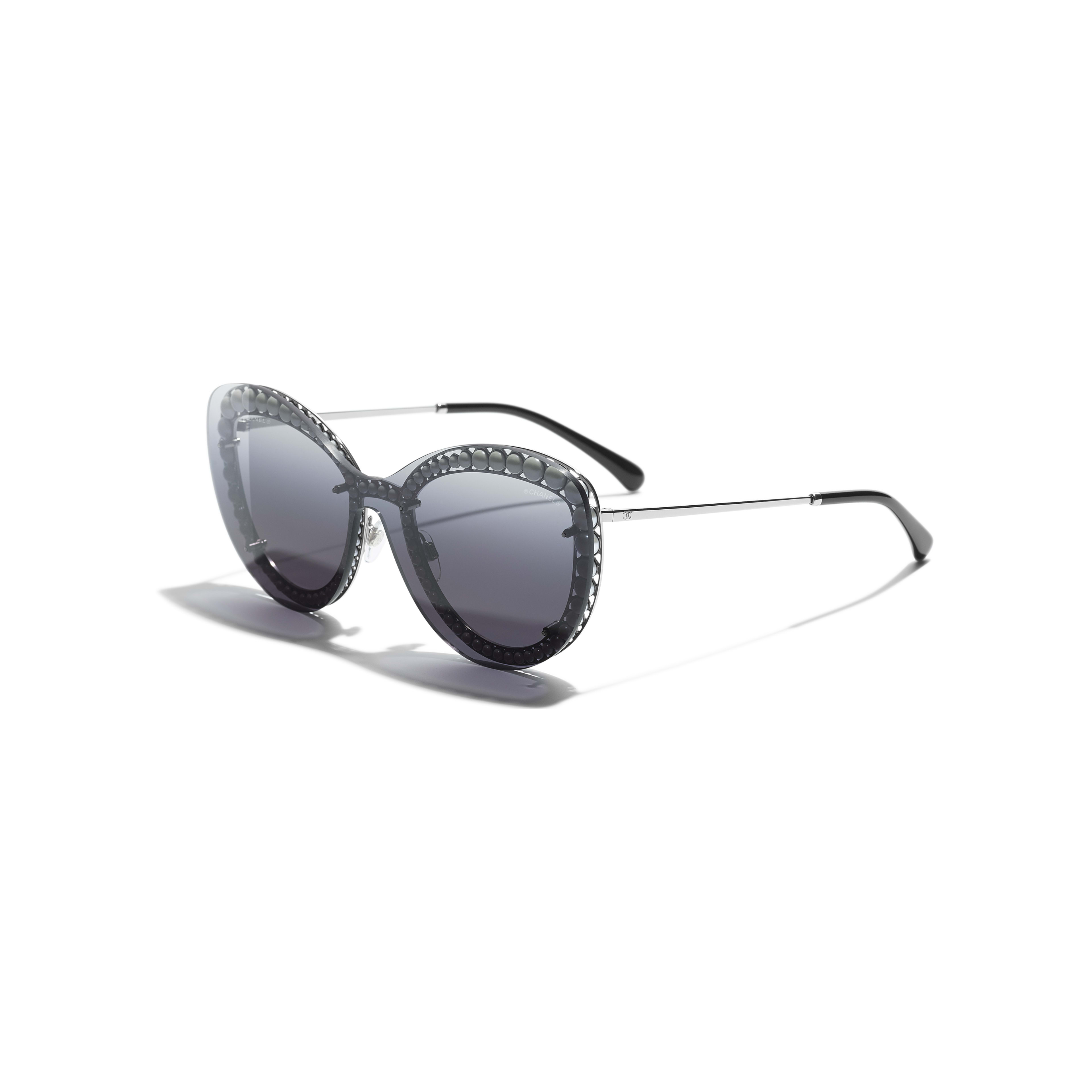 Butterfly Sunglasses - Silver - Metal & Imitation Pearls - Extra view - see standard sized version