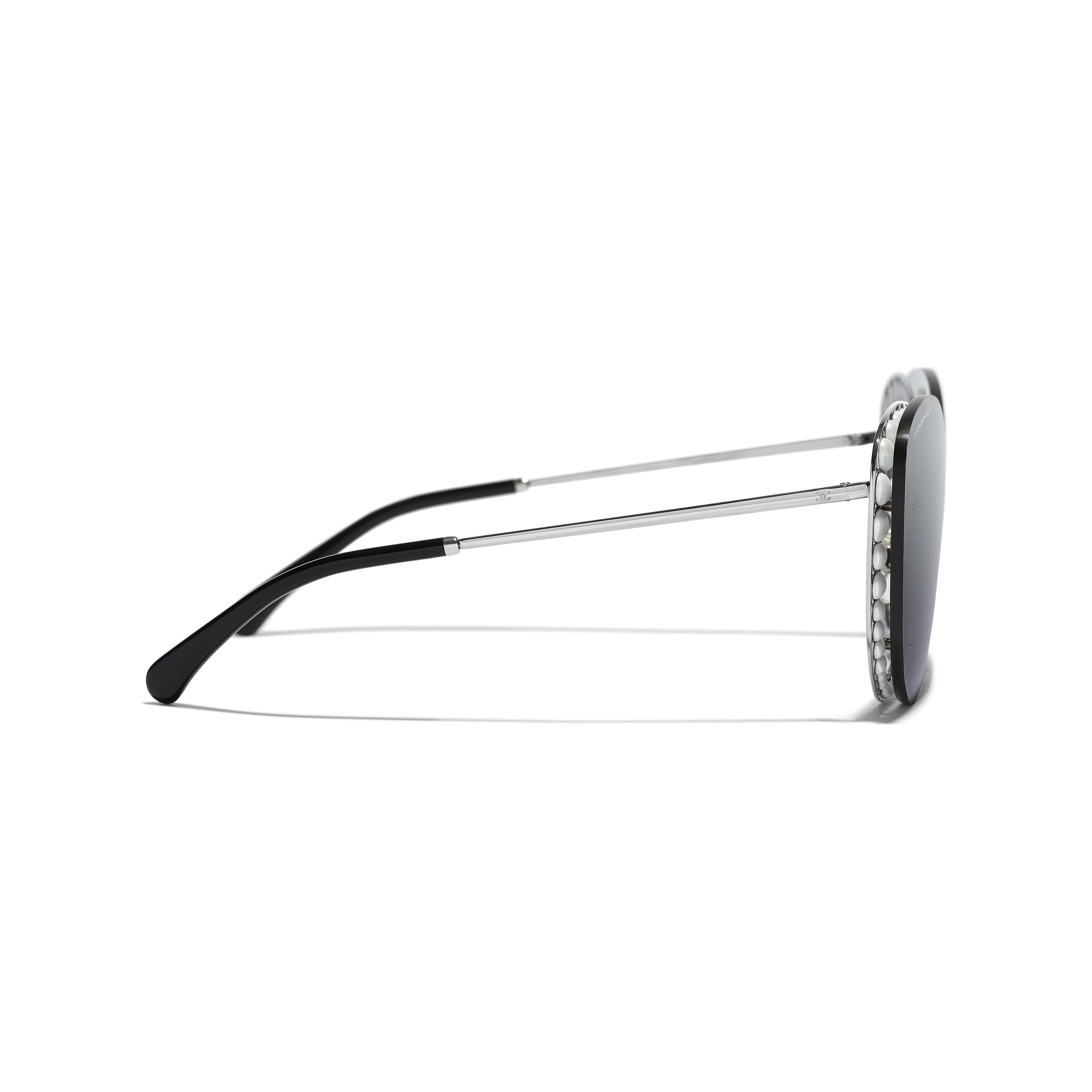 Butterfly Sunglasses - Silver - Metal & Imitation Pearls - Other view - see standard sized version