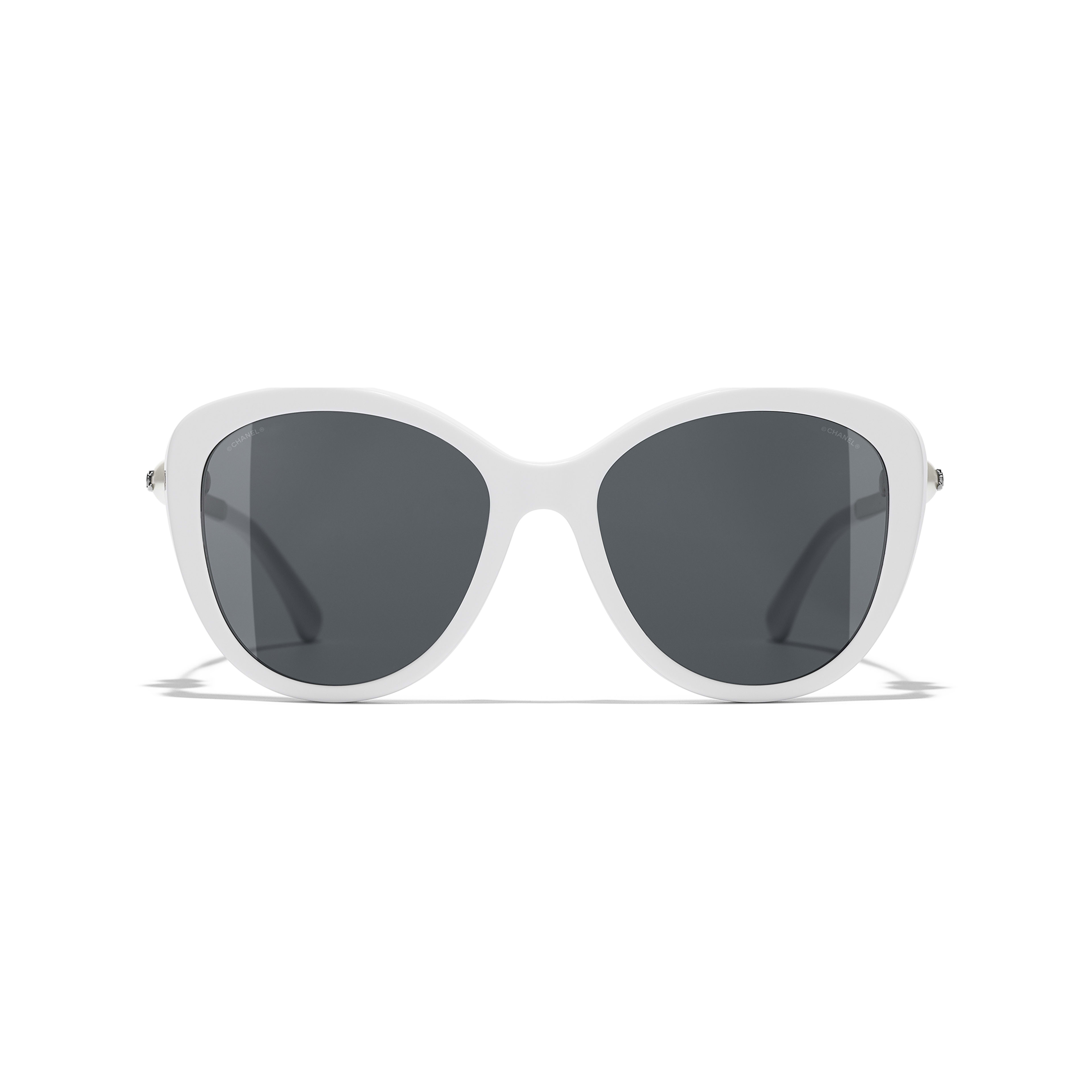 Butterfly Sunglasses - White - Acetate & Imitation Pearls - Alternative view - see standard sized version
