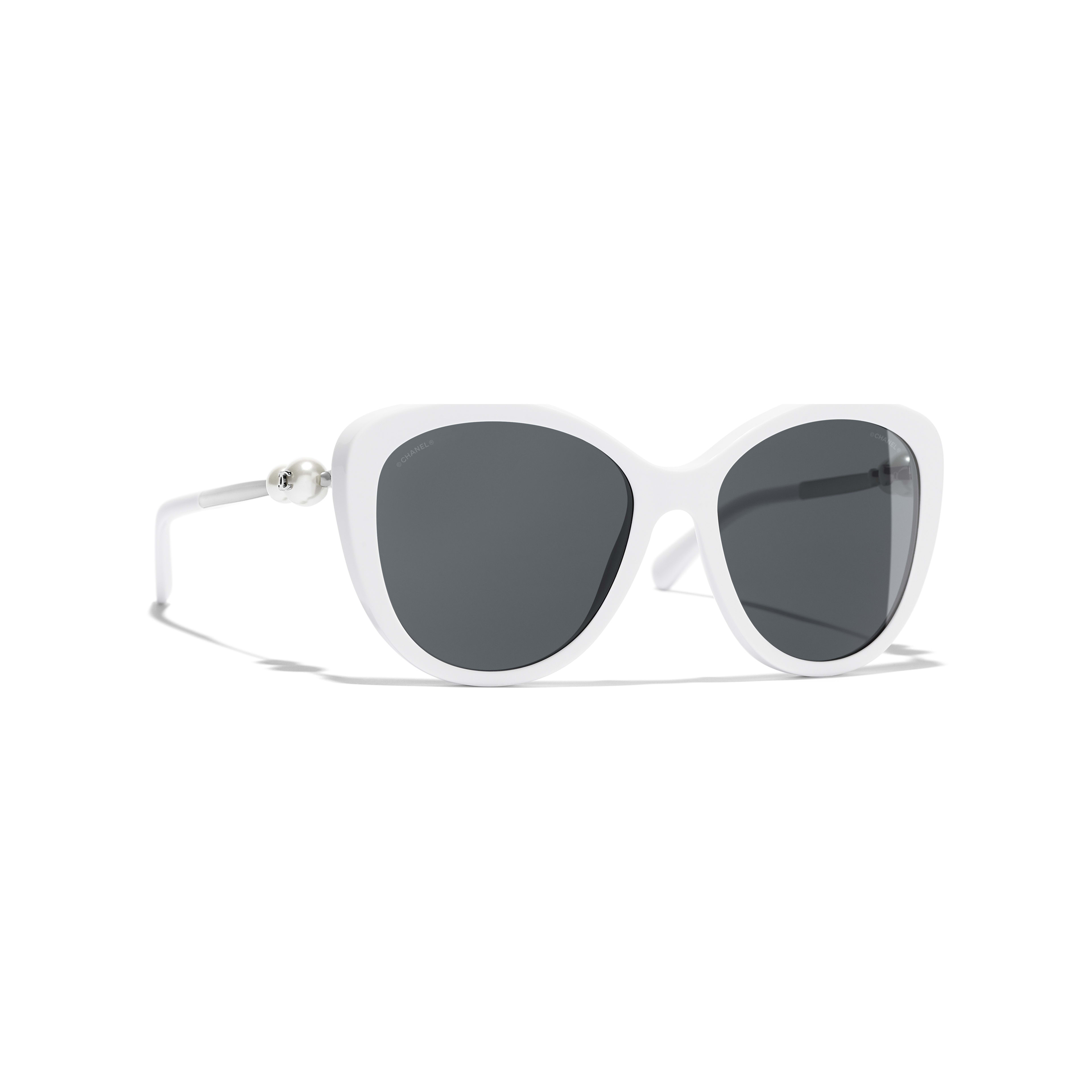 cheapest price no sale tax new authentic Butterfly Sunglasses, Acetate & Imitation Pearls, White | CHANEL