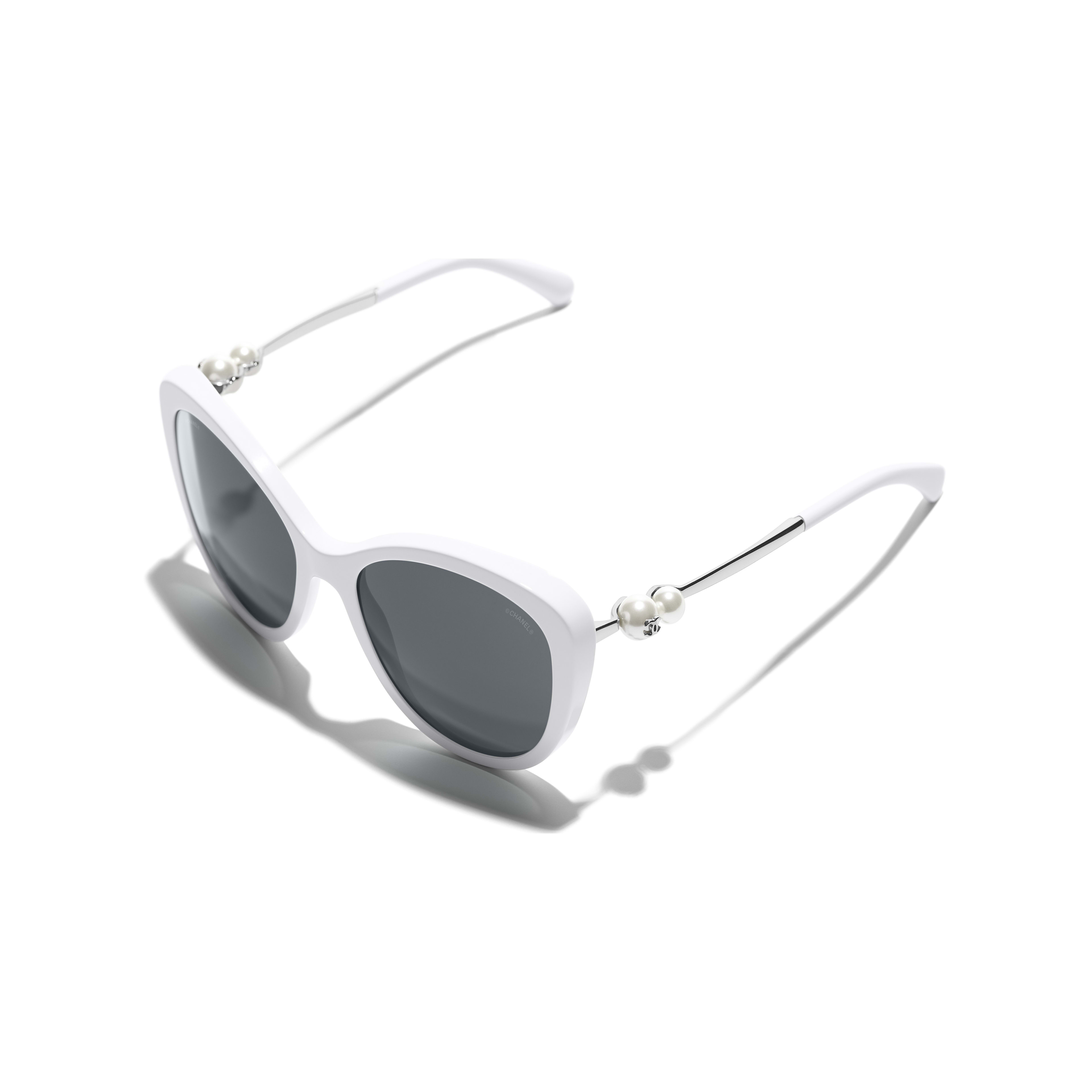 Butterfly Sunglasses - White - Acetate & Imitation Pearls - Extra view - see standard sized version