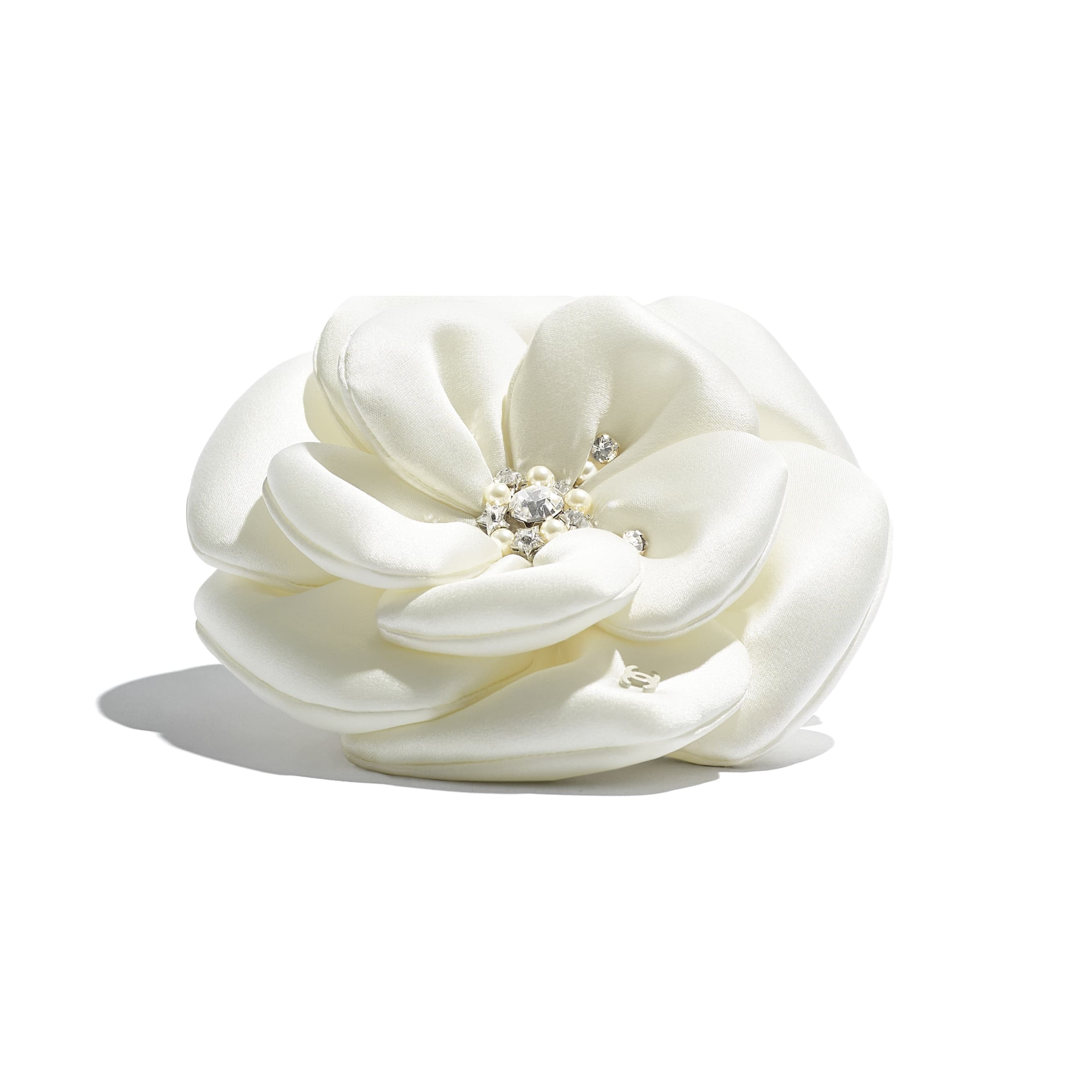Camellia - Ivory - Satin, Glass Pearls & Diamante - CHANEL - Alternative view - see standard sized version
