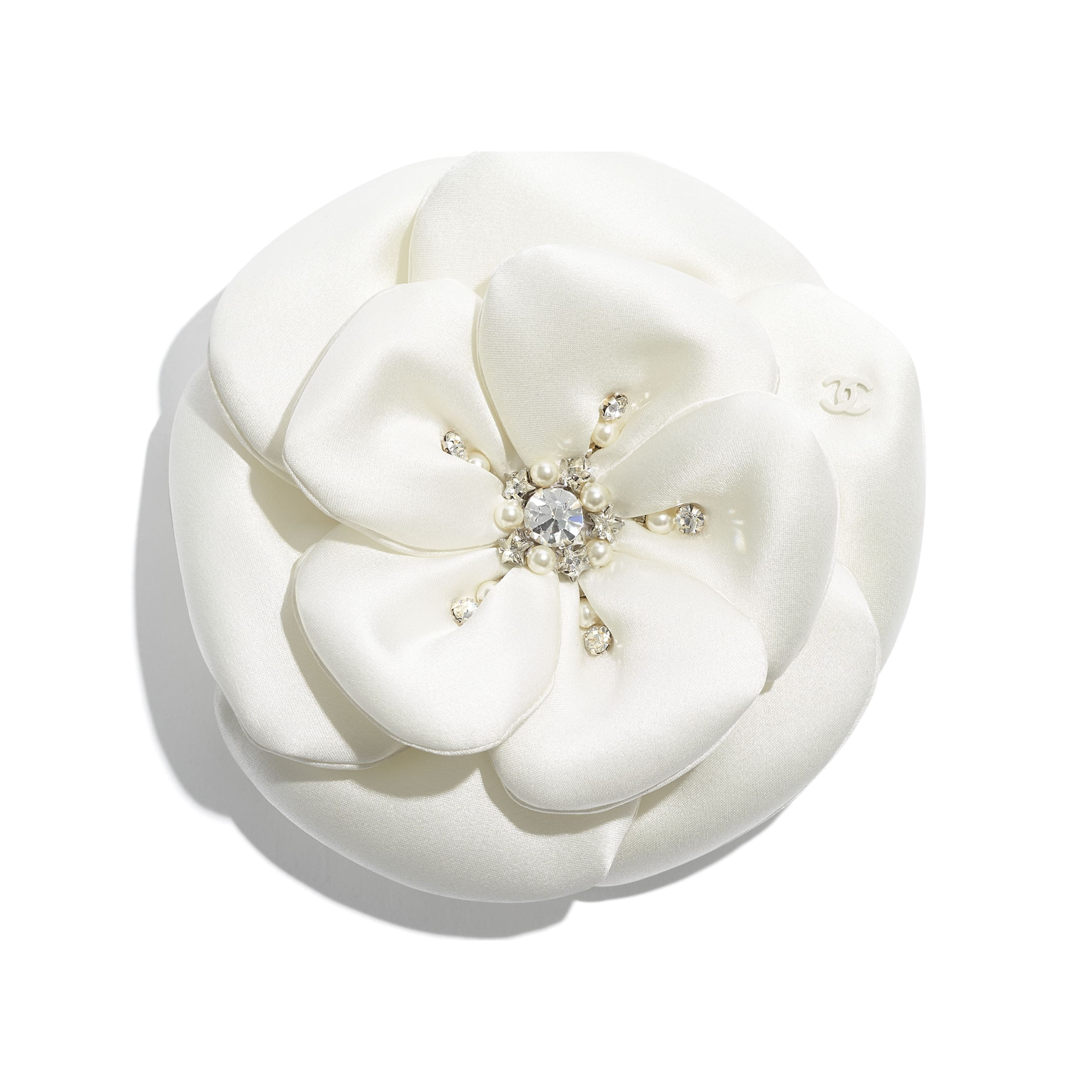 Camellia - Ivory - Satin, Glass Pearls & Diamante - CHANEL - Default view - see standard sized version