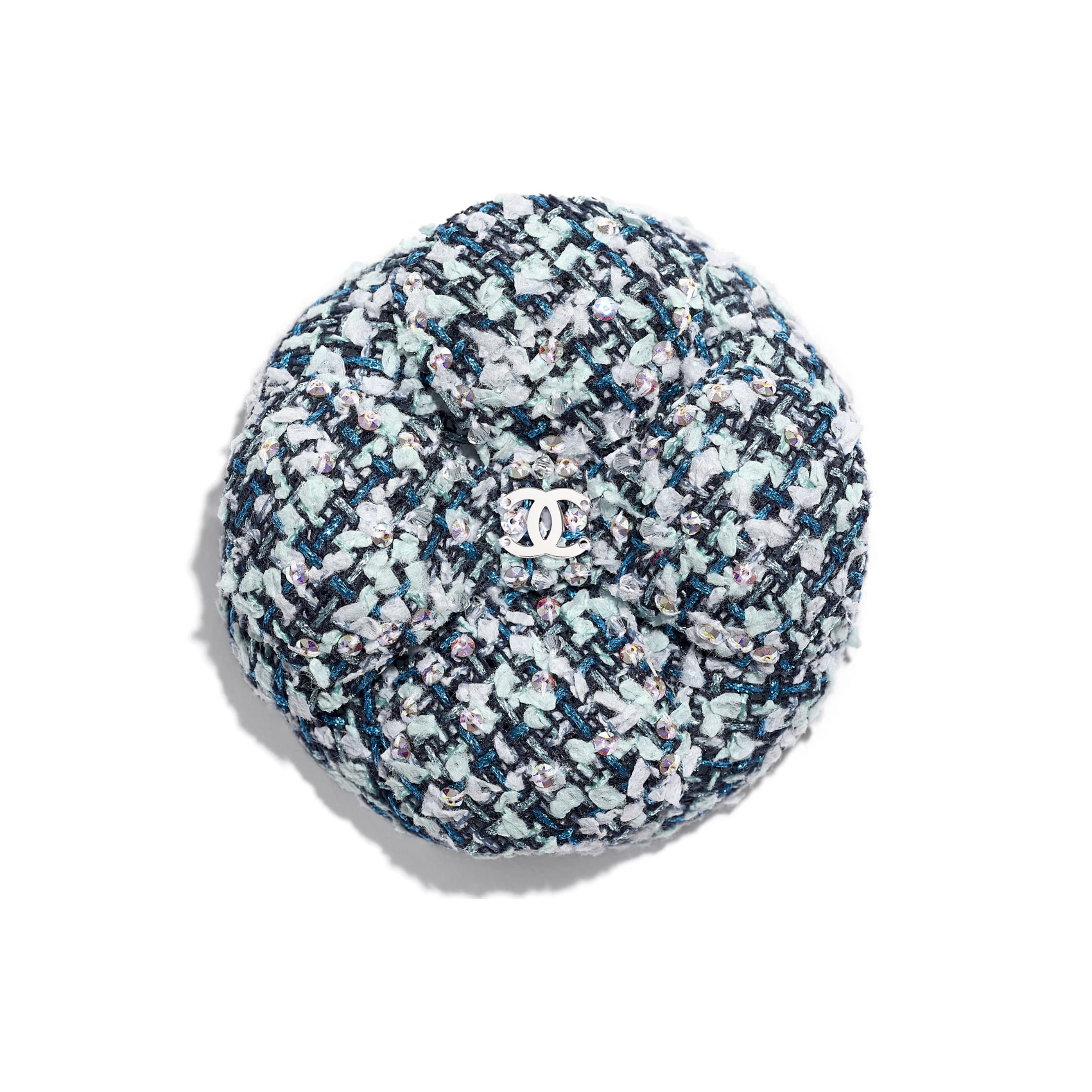 Camellia - Navy Blue, Blue & Green - Tweed & Diamantés - Default view - see standard sized version