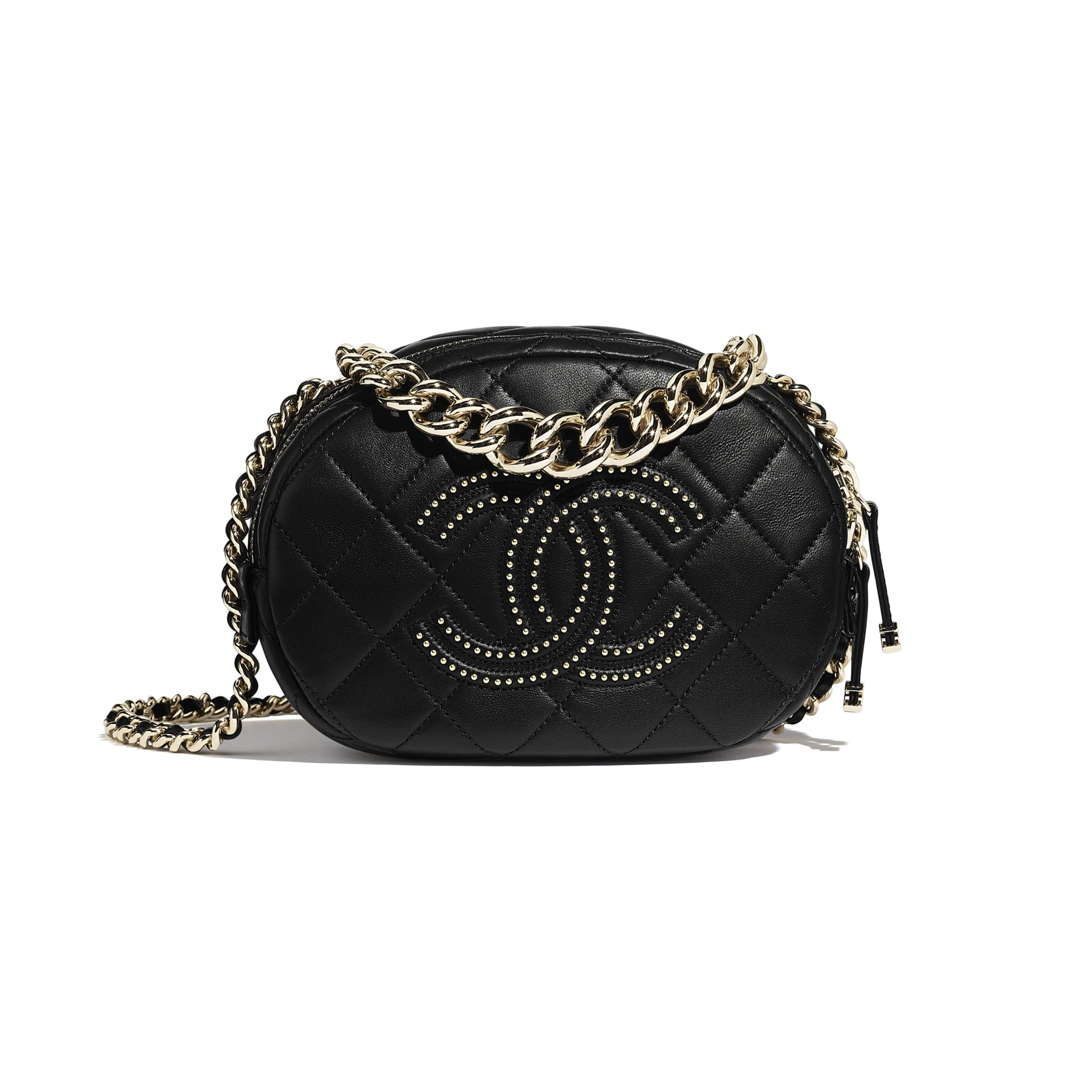 Camera Case - Black - Lambskin, Studs & Gold-Tone Metal - CHANEL - Default view - see standard sized version