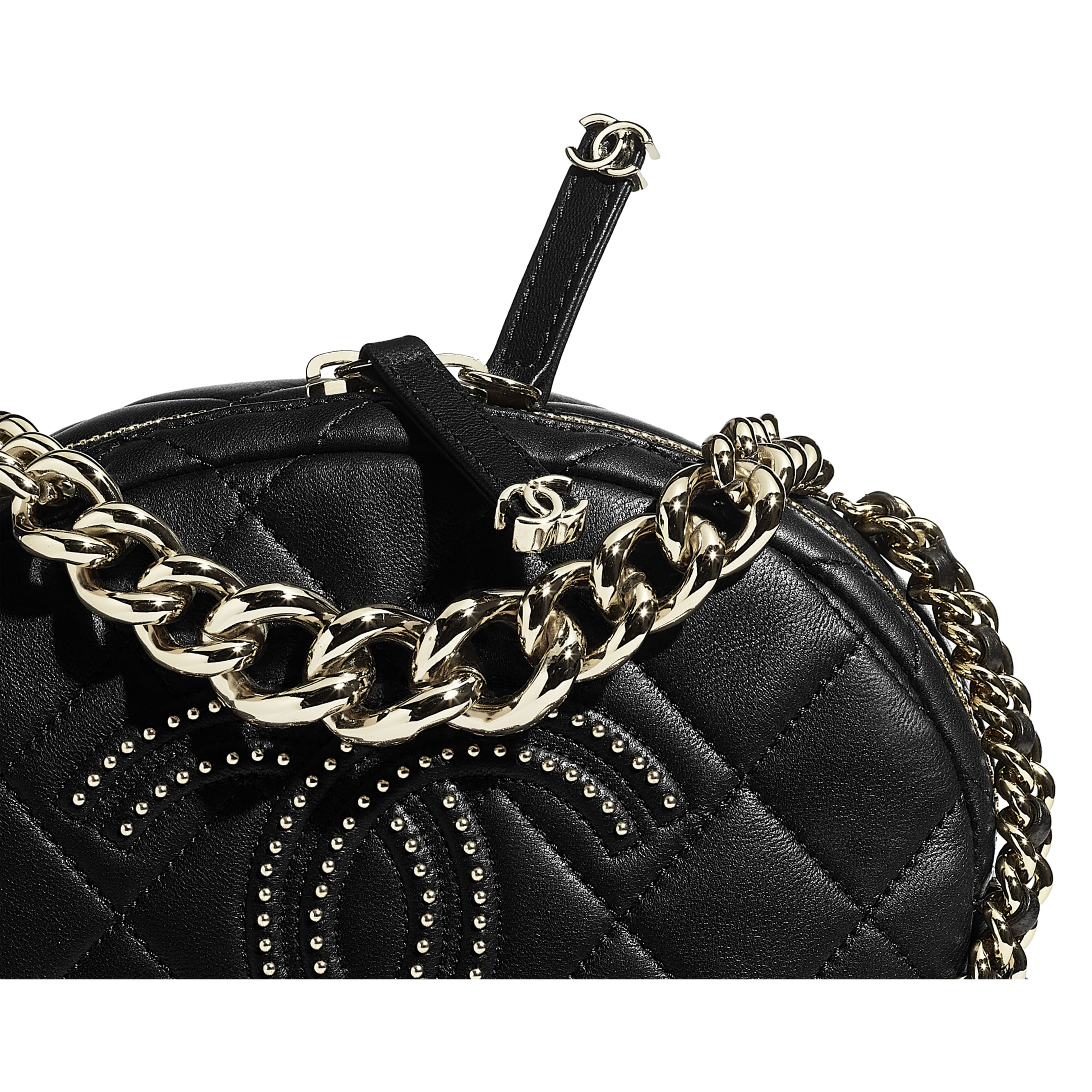 Camera Case - Black - Lambskin, Studs & Gold-Tone Metal - CHANEL - Extra view - see standard sized version