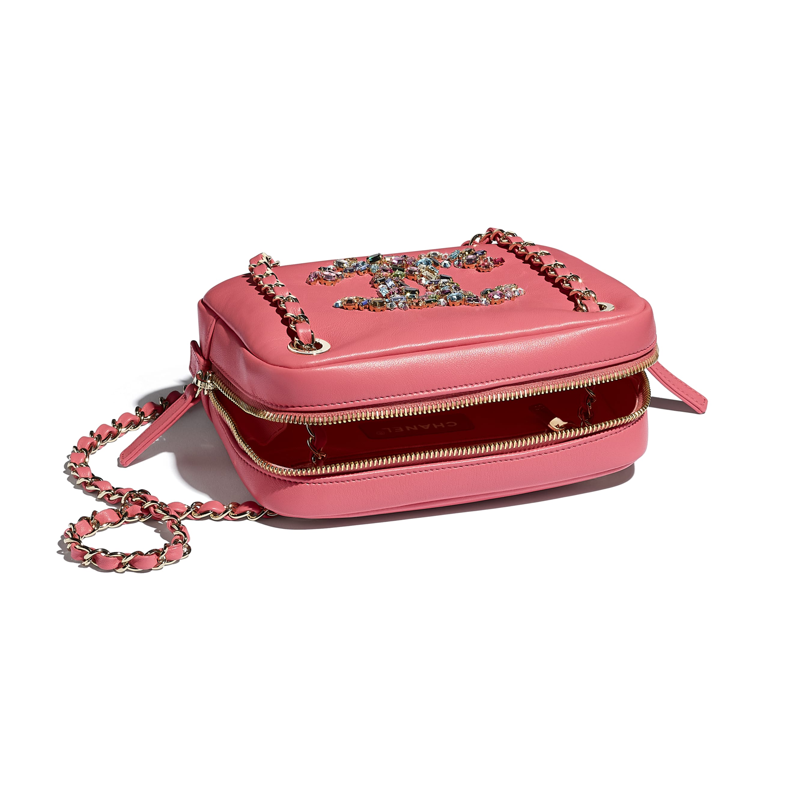 Camera Case - Coral - Lambskin, Crystal, Calfskin & Gold-Tone Metal - CHANEL - Other view - see standard sized version