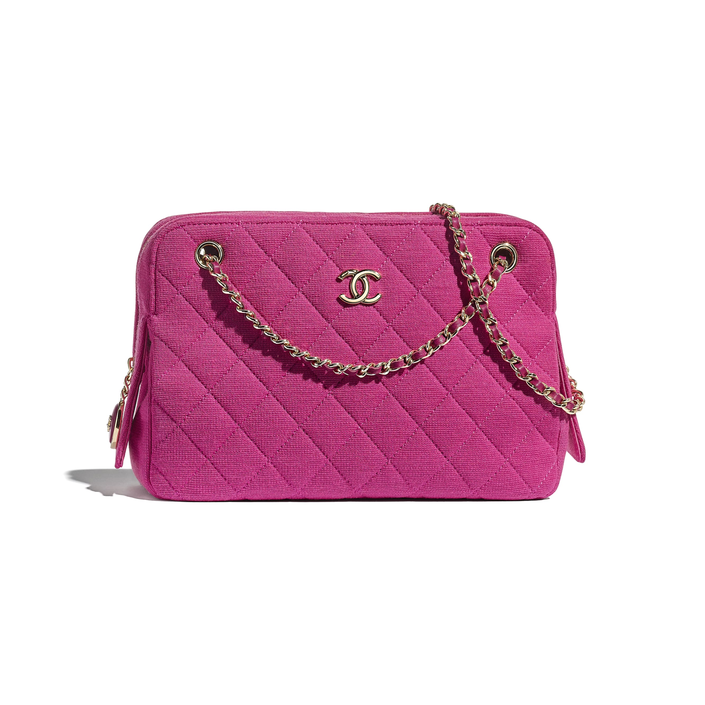 Camera Case - Pink - Jersey & Gold Metal - CHANEL - Default view - see standard sized version