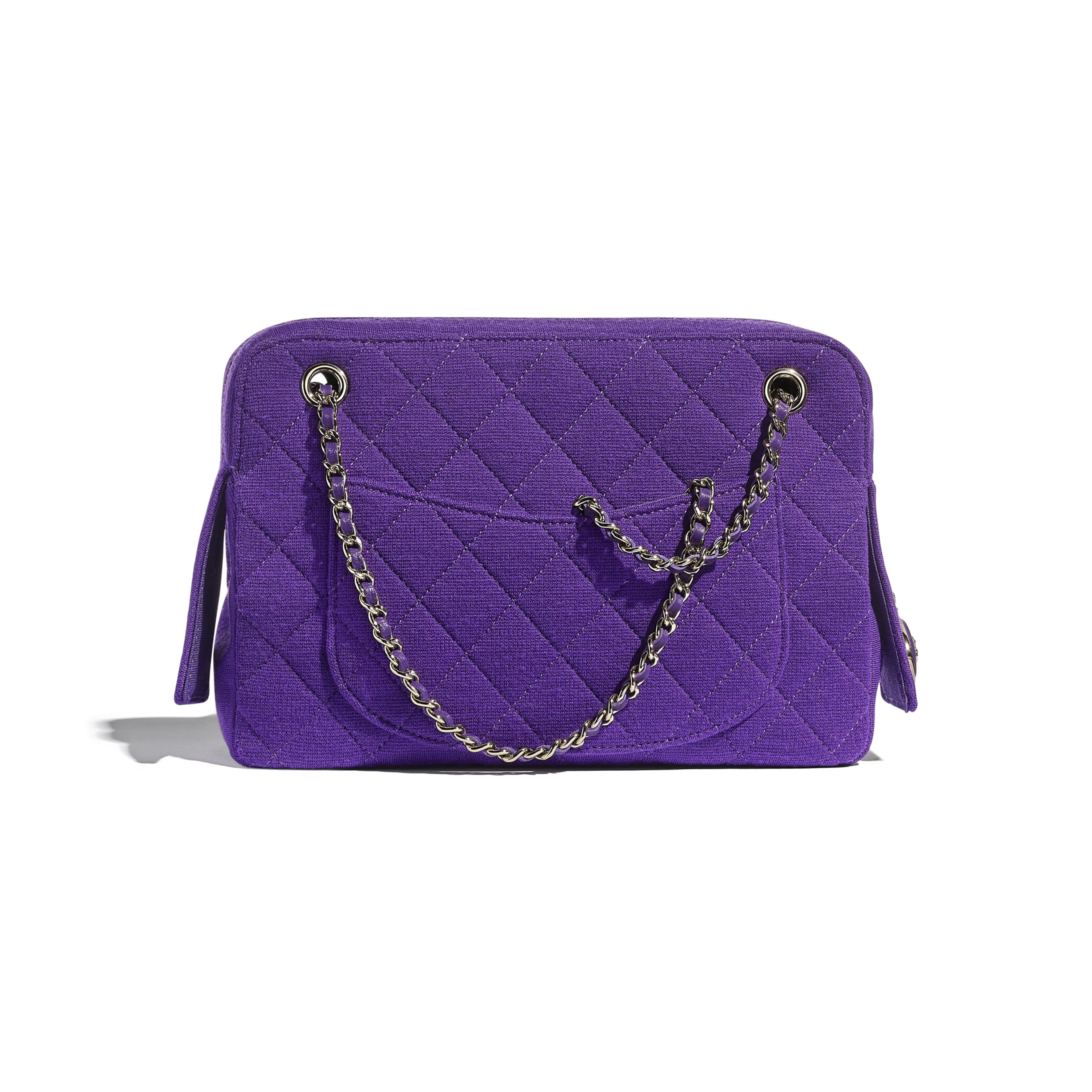 Camera Case - Purple - Jersey & Gold Metal - CHANEL - Alternative view - see standard sized version