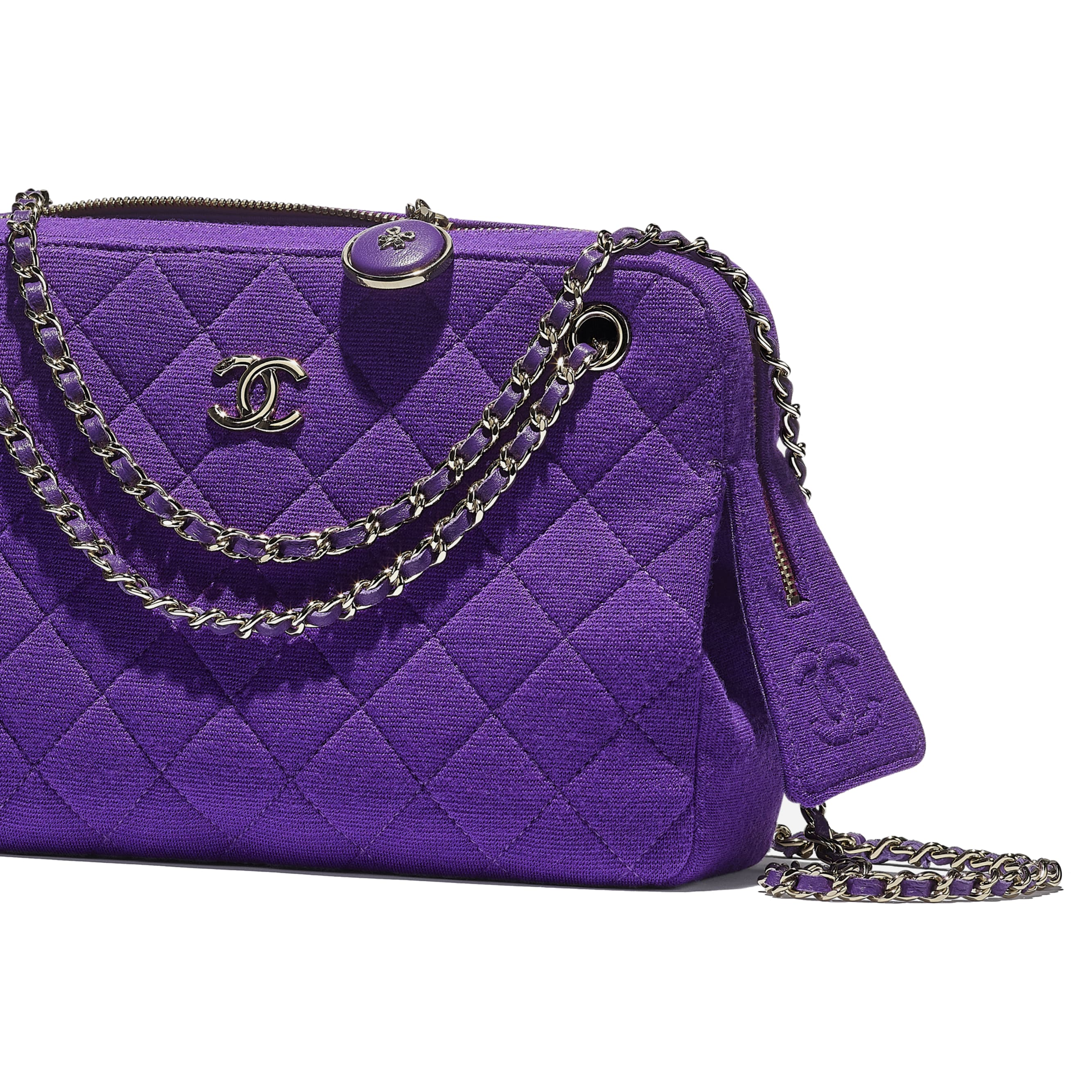 Camera Case - Purple - Jersey & Gold Metal - CHANEL - Extra view - see standard sized version
