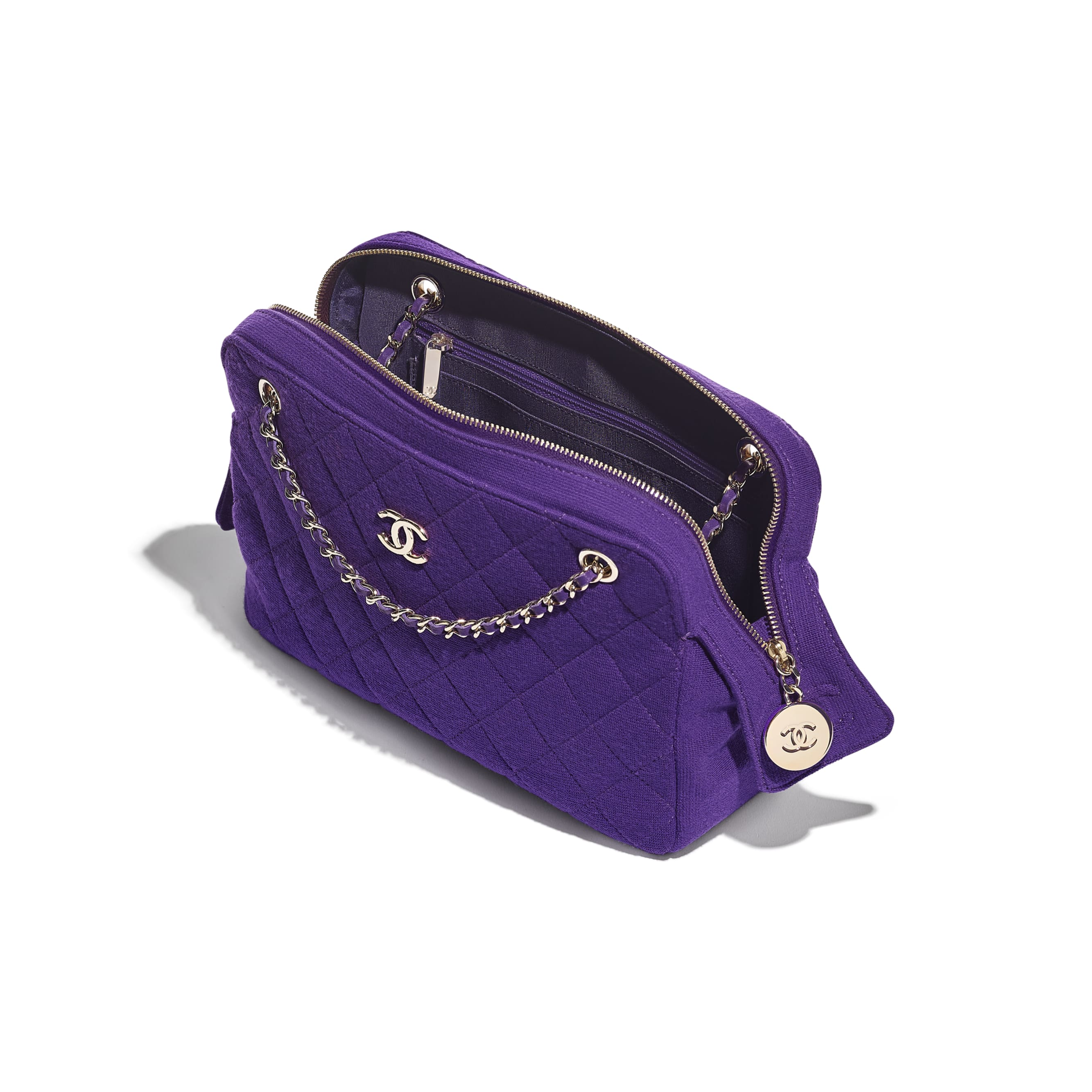 Camera Case - Purple - Jersey & Gold Metal - CHANEL - Other view - see standard sized version