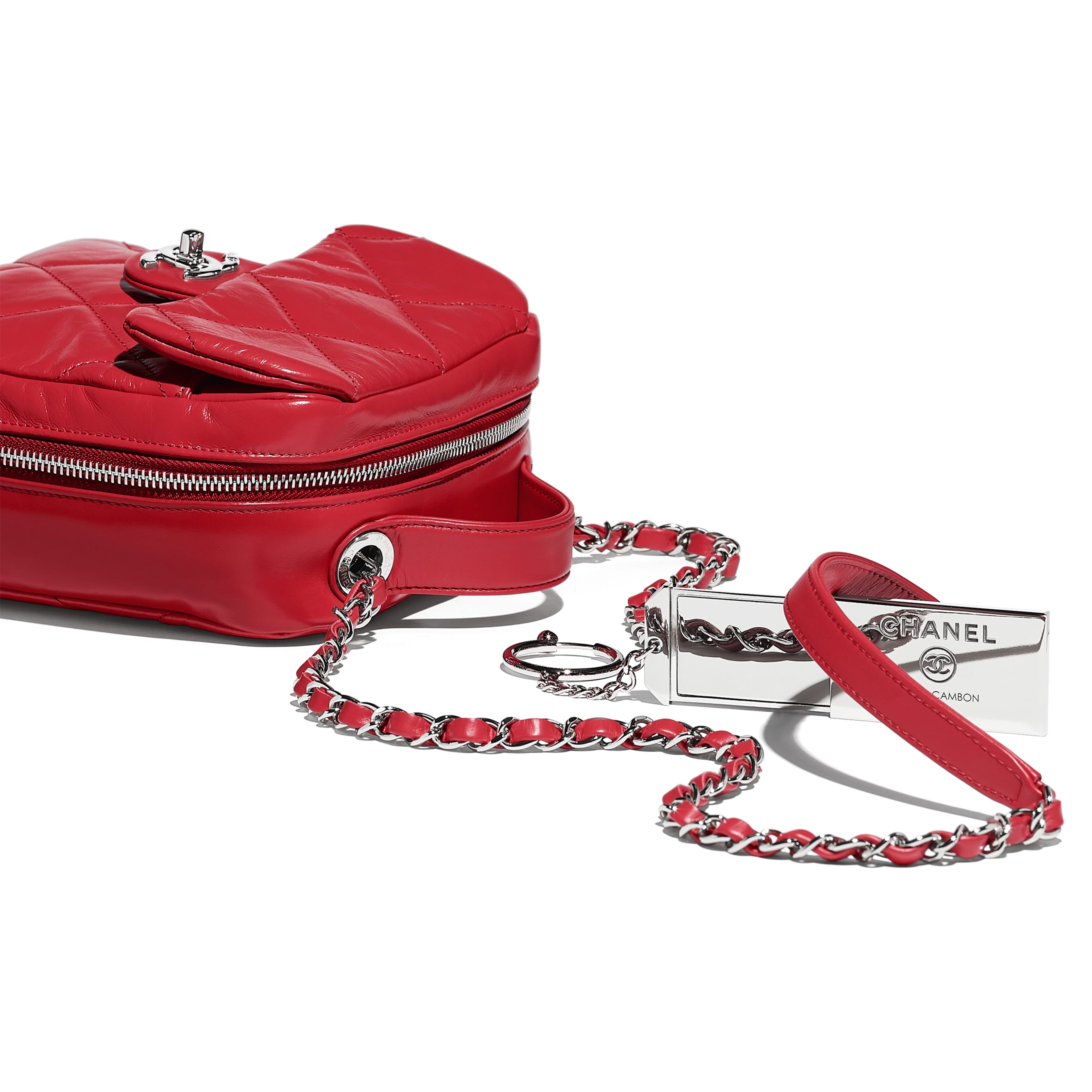 Camera Case - Red - Calfskin & Silver Metal - Extra view - see standard sized version
