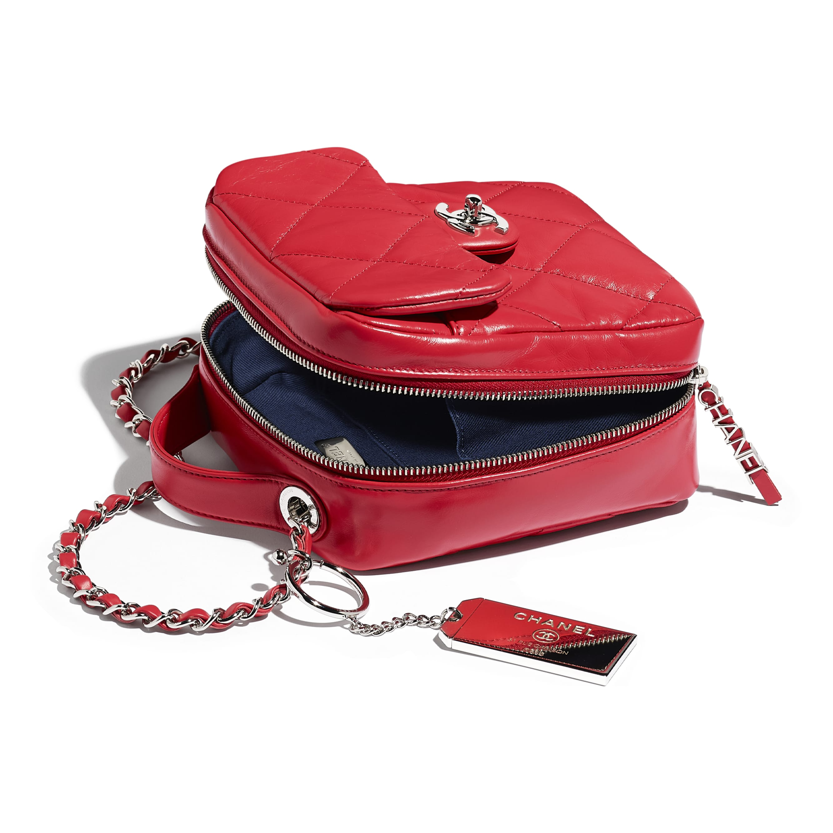 Camera Case - Red - Calfskin & Silver Metal - Other view - see standard sized version