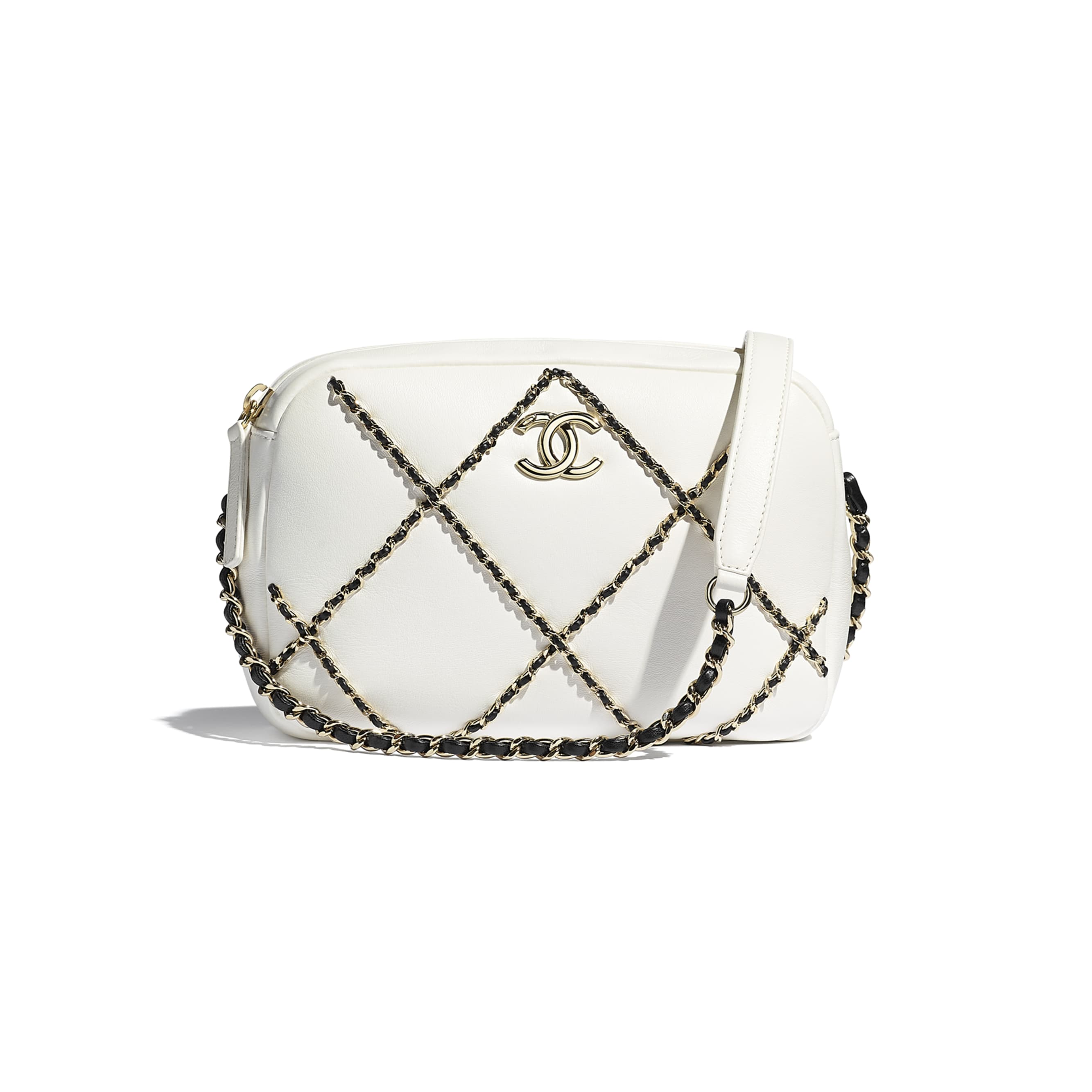 Camera Case - White & Black - Lambskin & Gold Metal  - CHANEL - Default view - see standard sized version