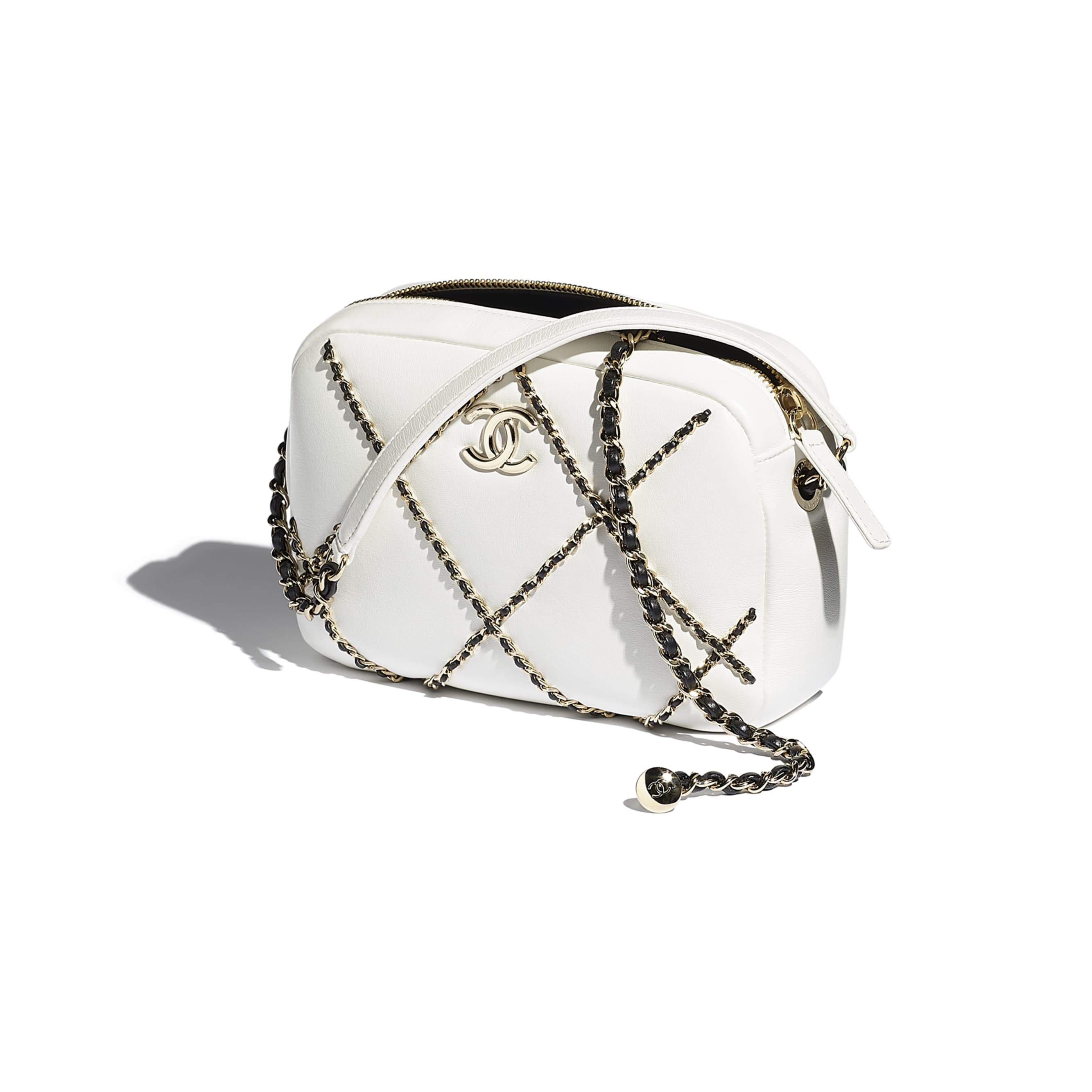 Camera Case - White & Black - Lambskin & Gold Metal  - CHANEL - Other view - see standard sized version