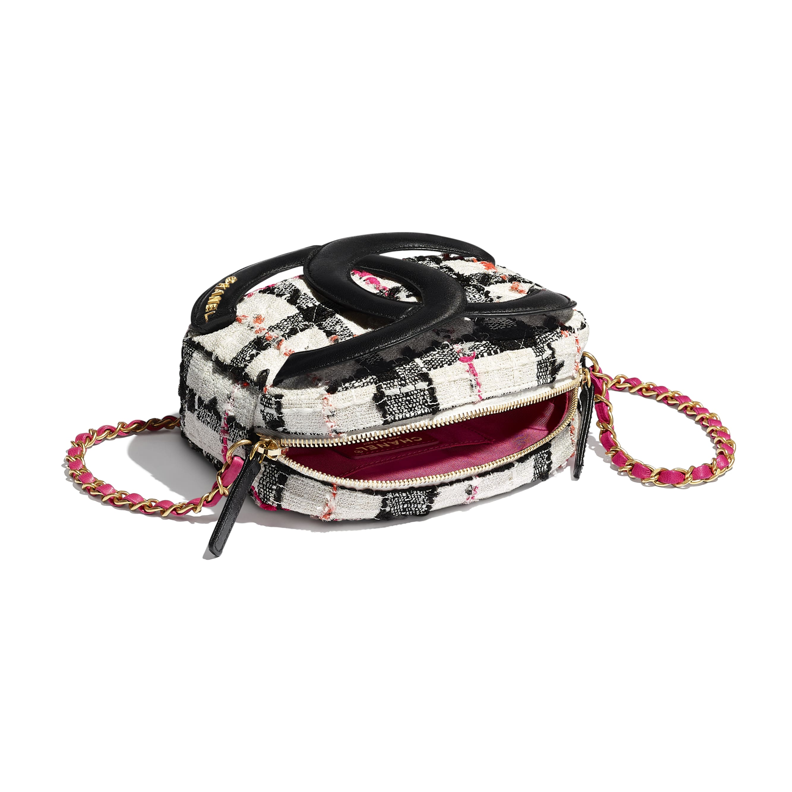 Camera Case - White, Black, Pink & Orange - Tweed, Lambskin & Gold Metal - CHANEL - Other view - see standard sized version