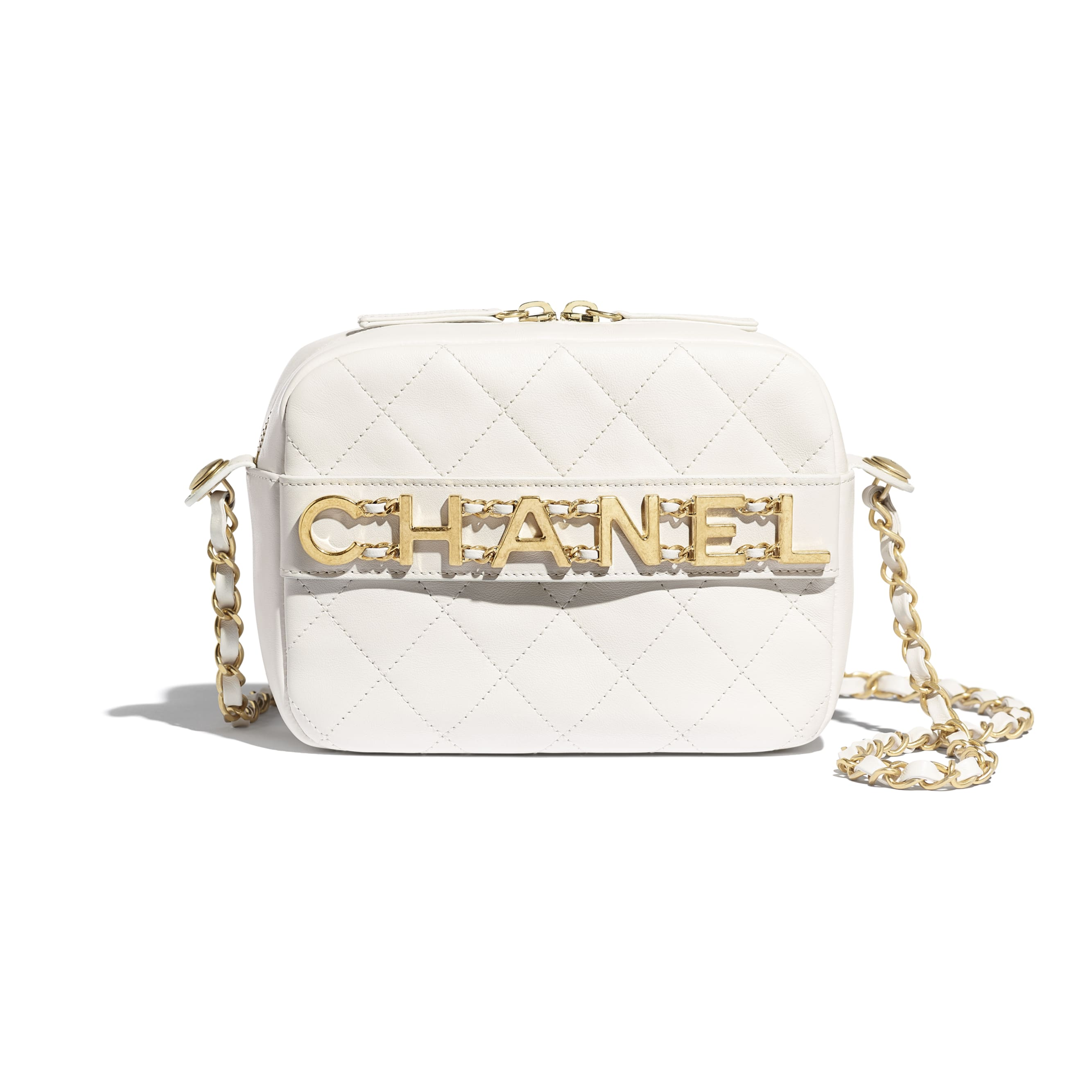 Camera Case - White - Calfskin & Gold-Tone Metal - CHANEL - Default view - see standard sized version