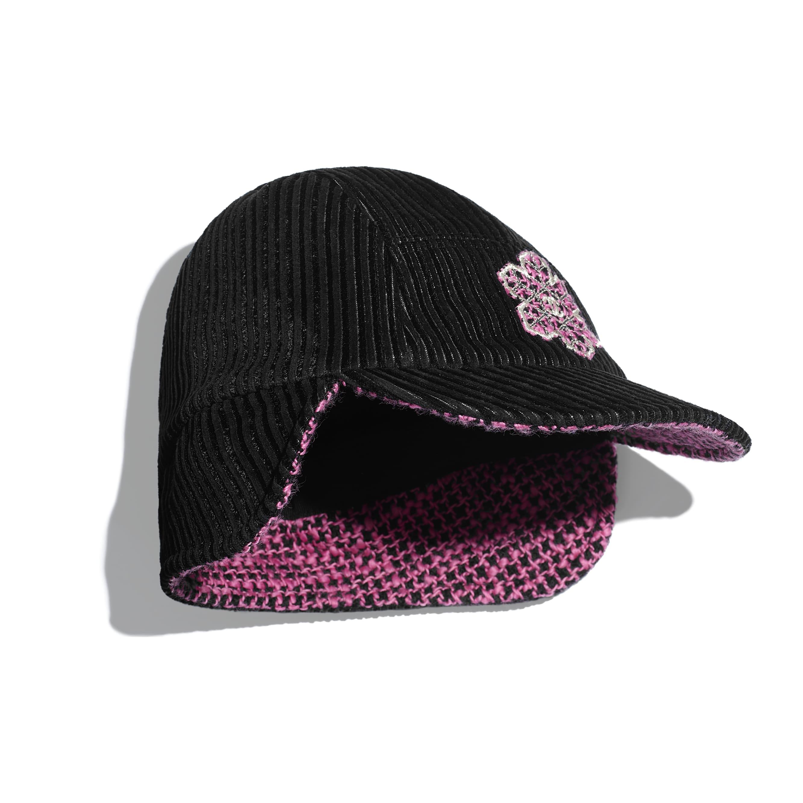 Cap - Black & Pink - Tweed - Alternative view - see standard sized version