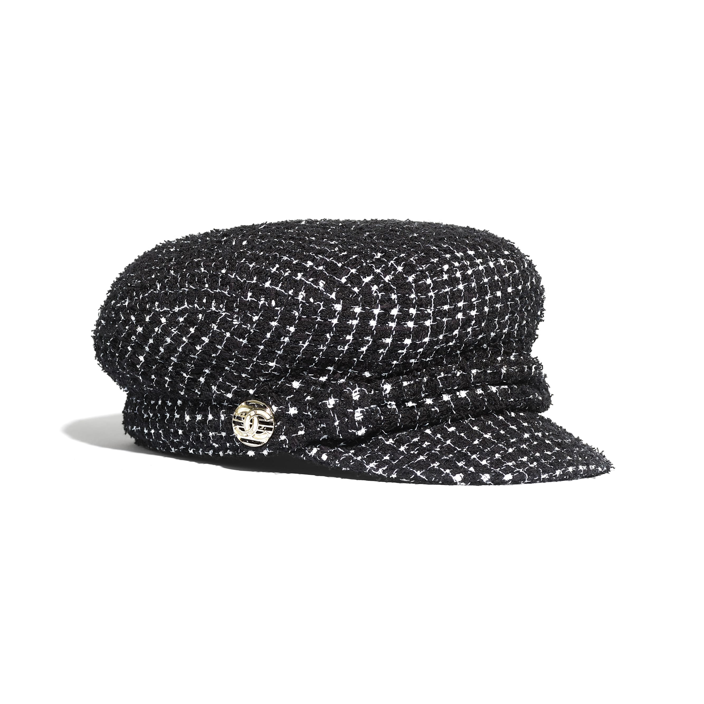 Cap - Black & White - Tweed & Metal - CHANEL - Alternative view - see standard sized version