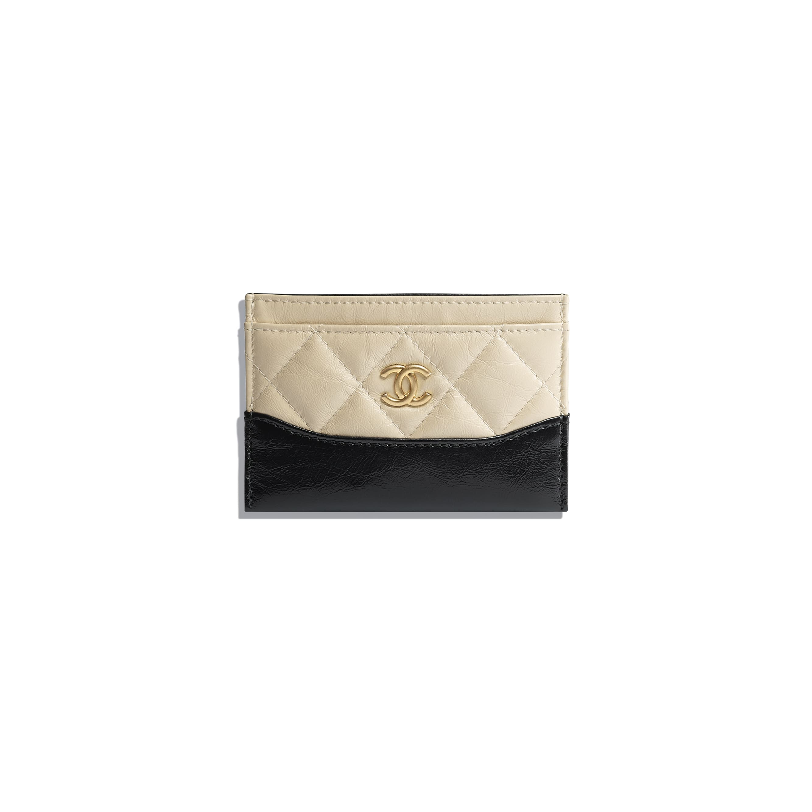 Card Holder - Beige & Black - Aged Calfskin, Smooth Calfskin, Silver-Tone & Gold-Tone Metal - Default view - see standard sized version