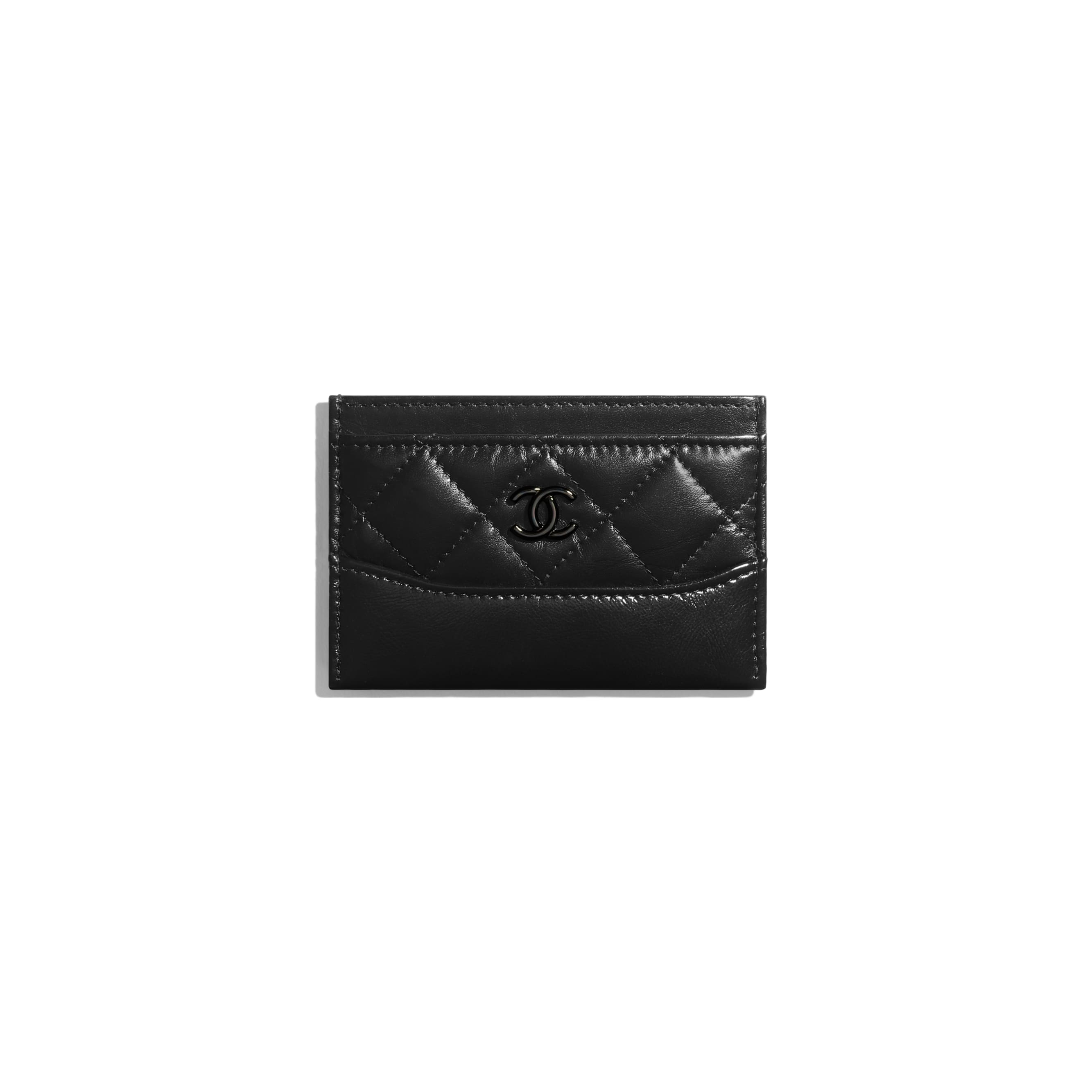 Card Holder - Black - Aged Calfskin, Smooth Calfskin & Black Metal - CHANEL - Default view - see standard sized version