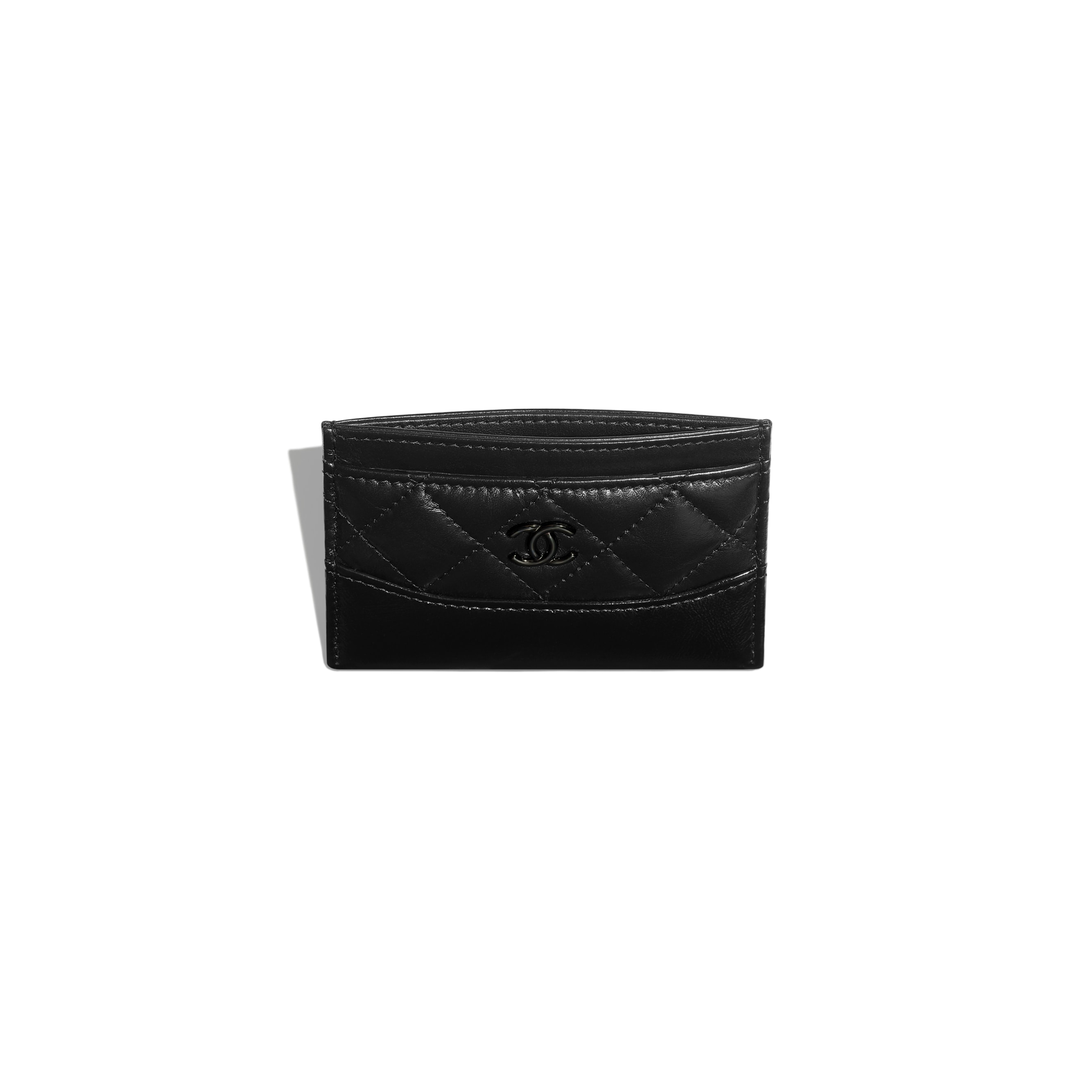 Card Holder - Black - Aged Calfskin, Smooth Calfskin & Black Metal - CHANEL - Other view - see standard sized version
