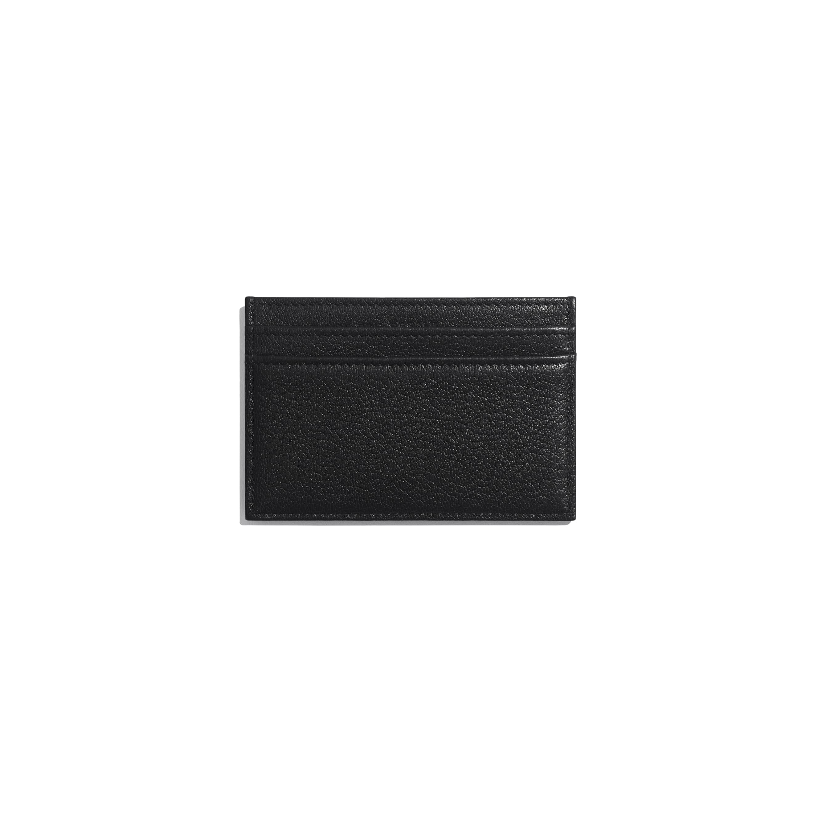 Card Holder - Black - Goatskin & Lacquered Silver-Tone Metal - Alternative view - see standard sized version