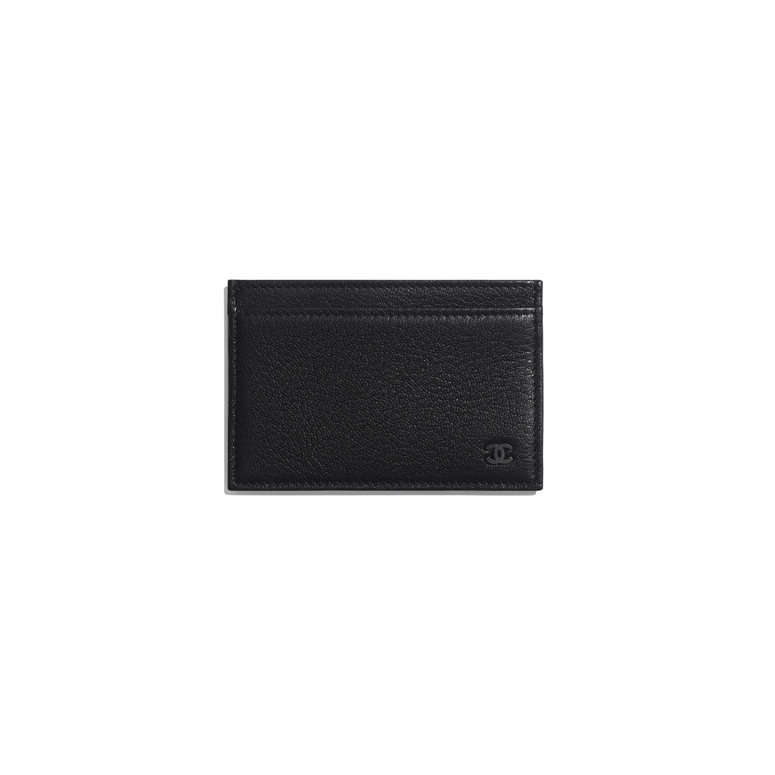 Card Holder - Black - Goatskin & Lacquered Silver-Tone Metal - Default view - see standard sized version