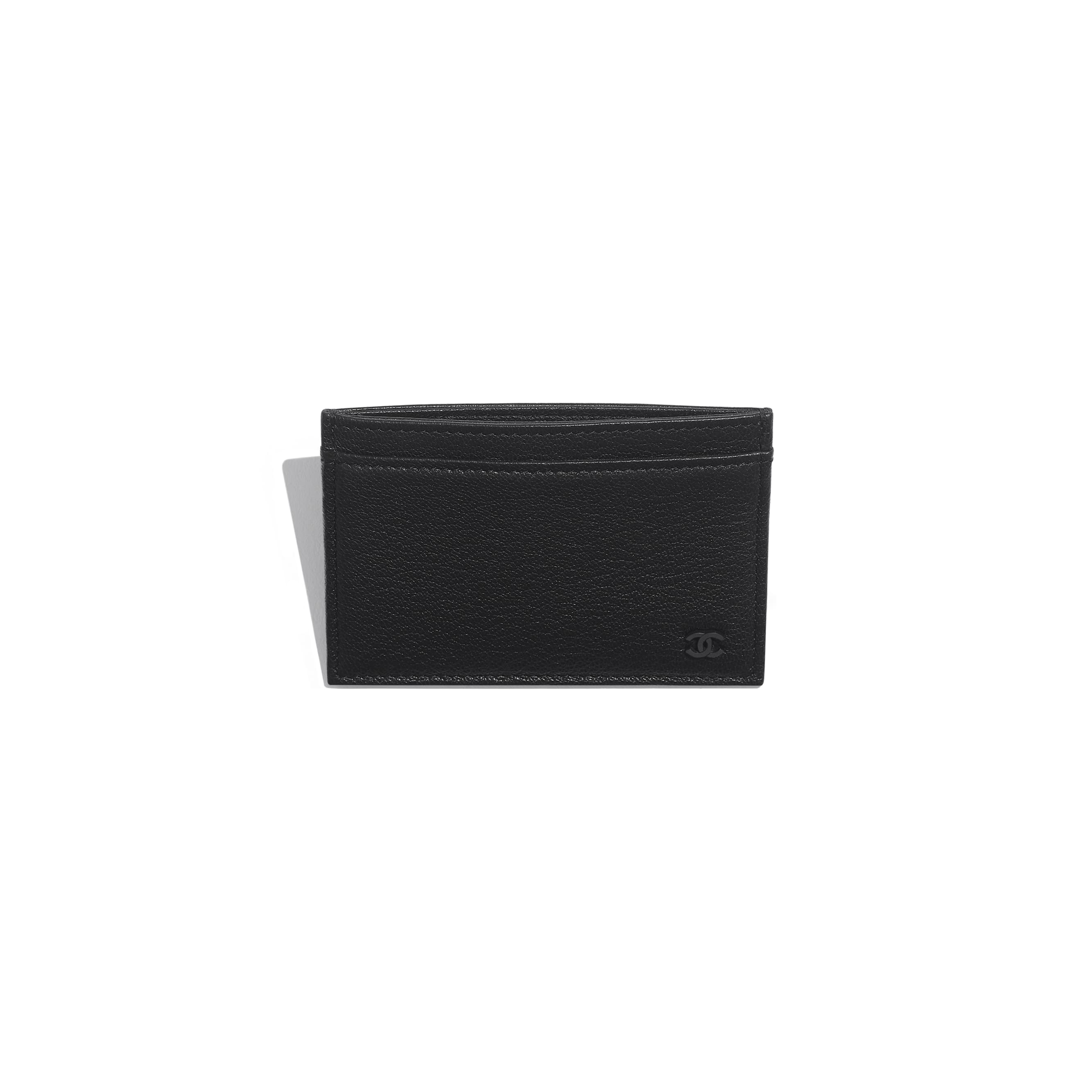 Card Holder - Black - Goatskin & Lacquered Silver-Tone Metal - Other view - see standard sized version
