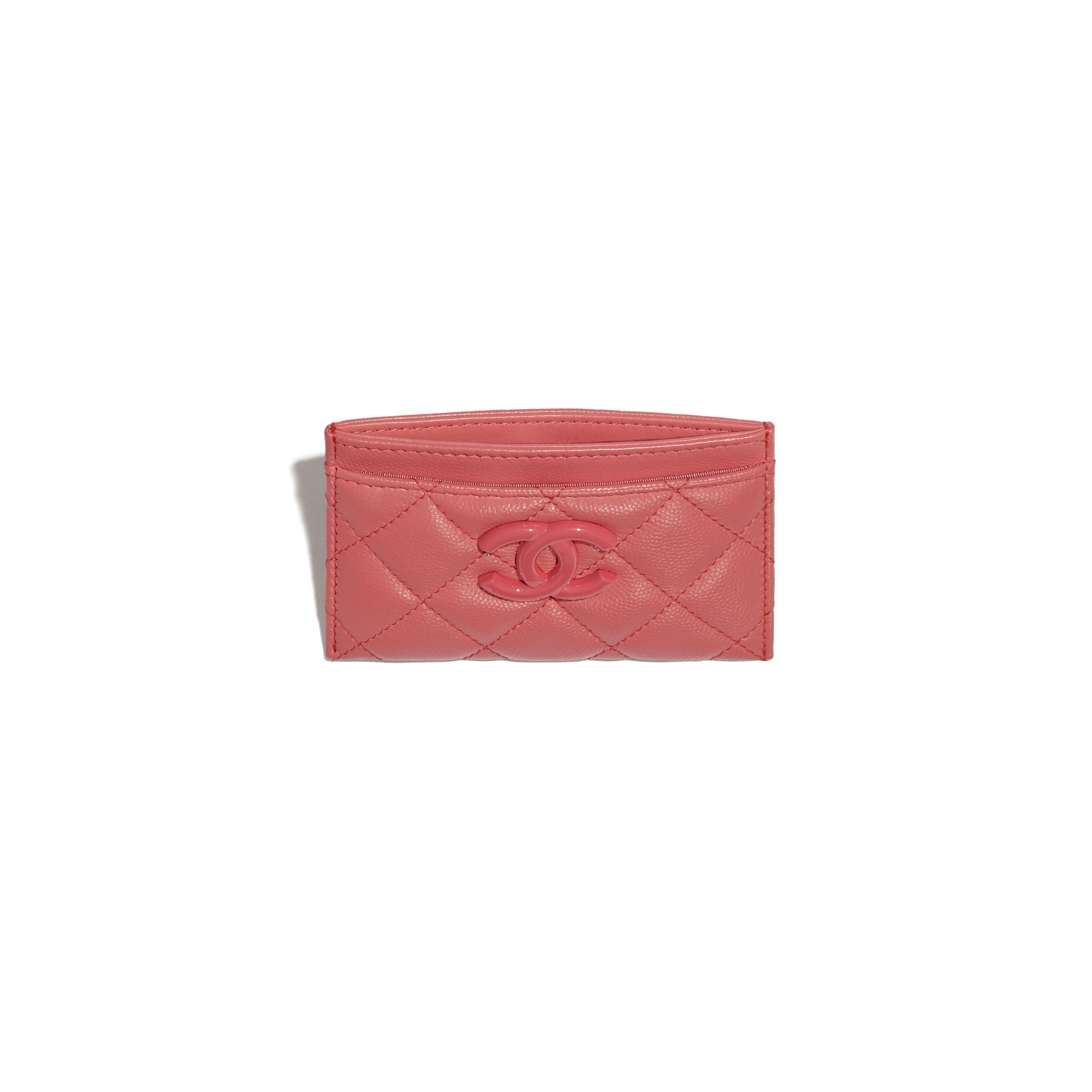 Card Holder - Coral - Grained Calfskin & Lacquered Metal - CHANEL - Alternative view - see standard sized version
