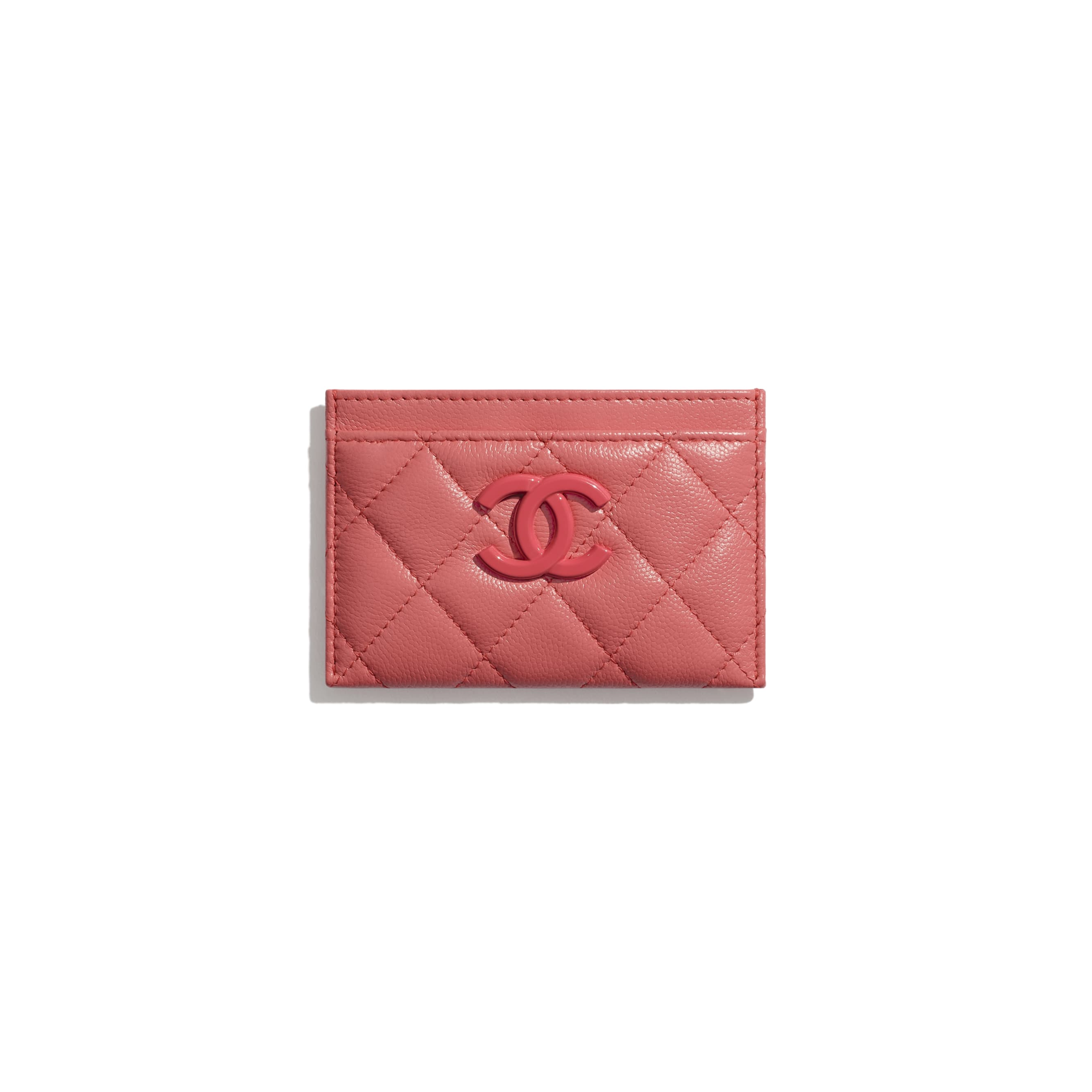 Card Holder - Coral - Grained Calfskin & Lacquered Metal - CHANEL - Default view - see standard sized version