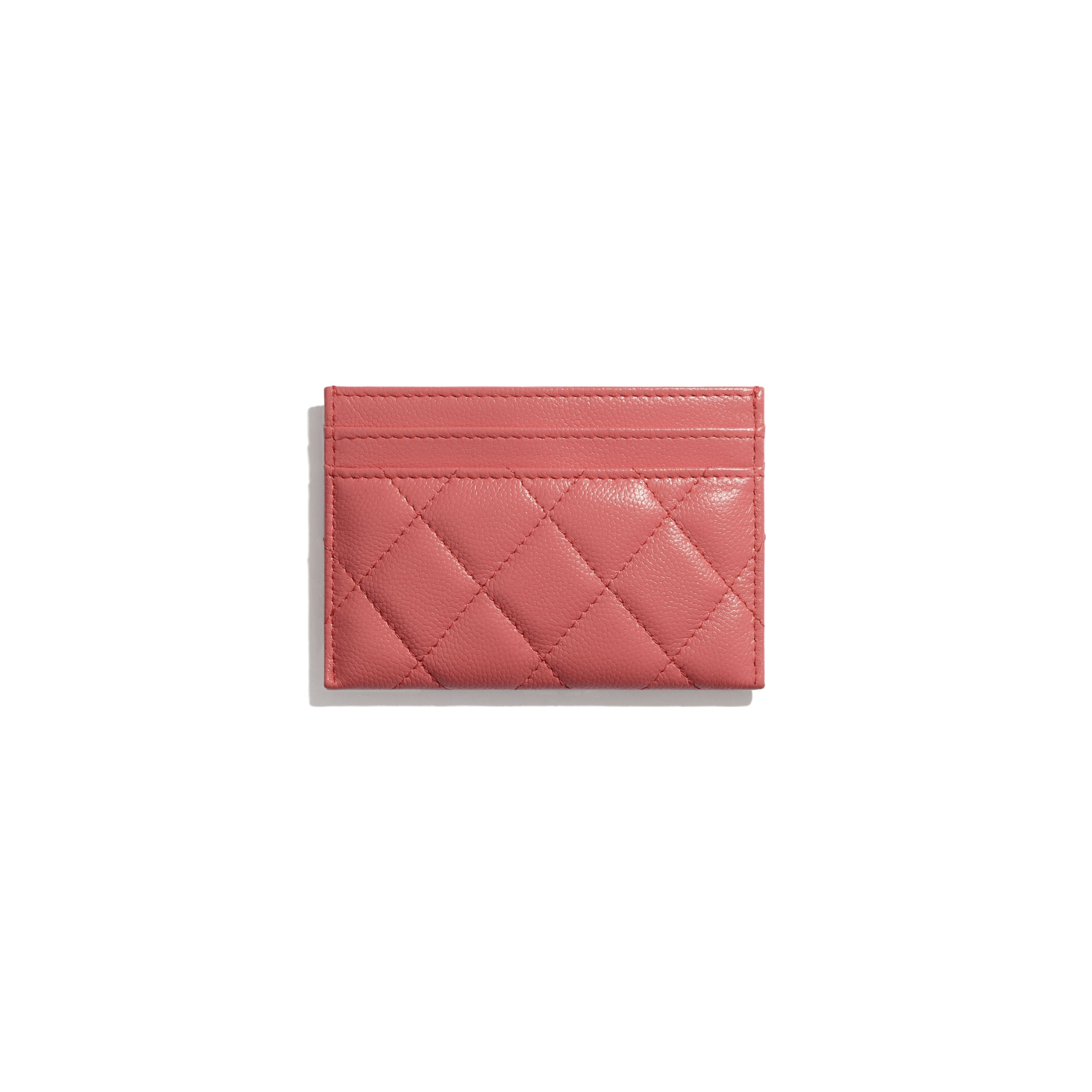 Card Holder - Coral - Grained Calfskin & Lacquered Metal - CHANEL - Other view - see standard sized version