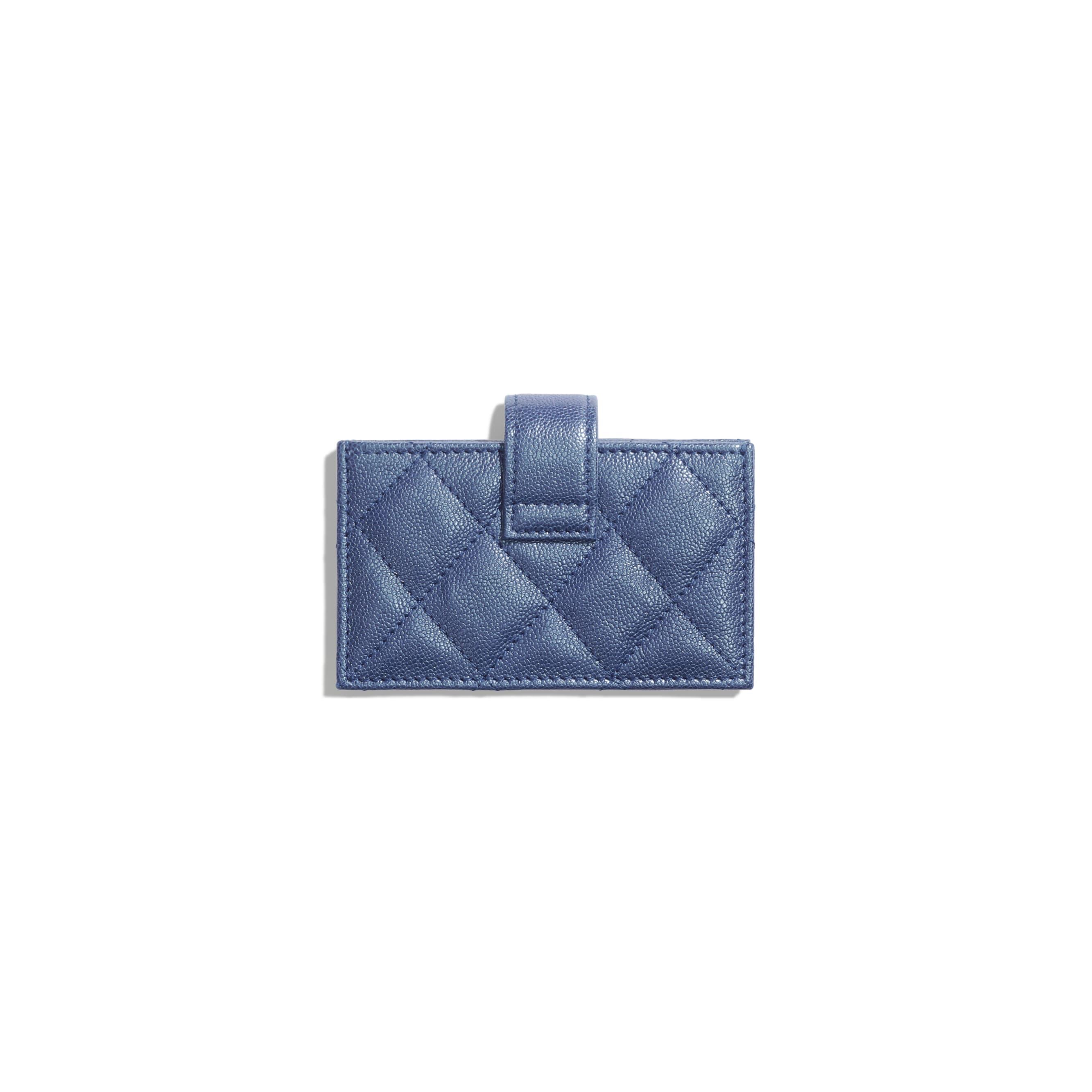 Card Holder - Dark Blue - Iridescent Grained Calfskin & Gold-Tone Metal - Alternative view - see standard sized version