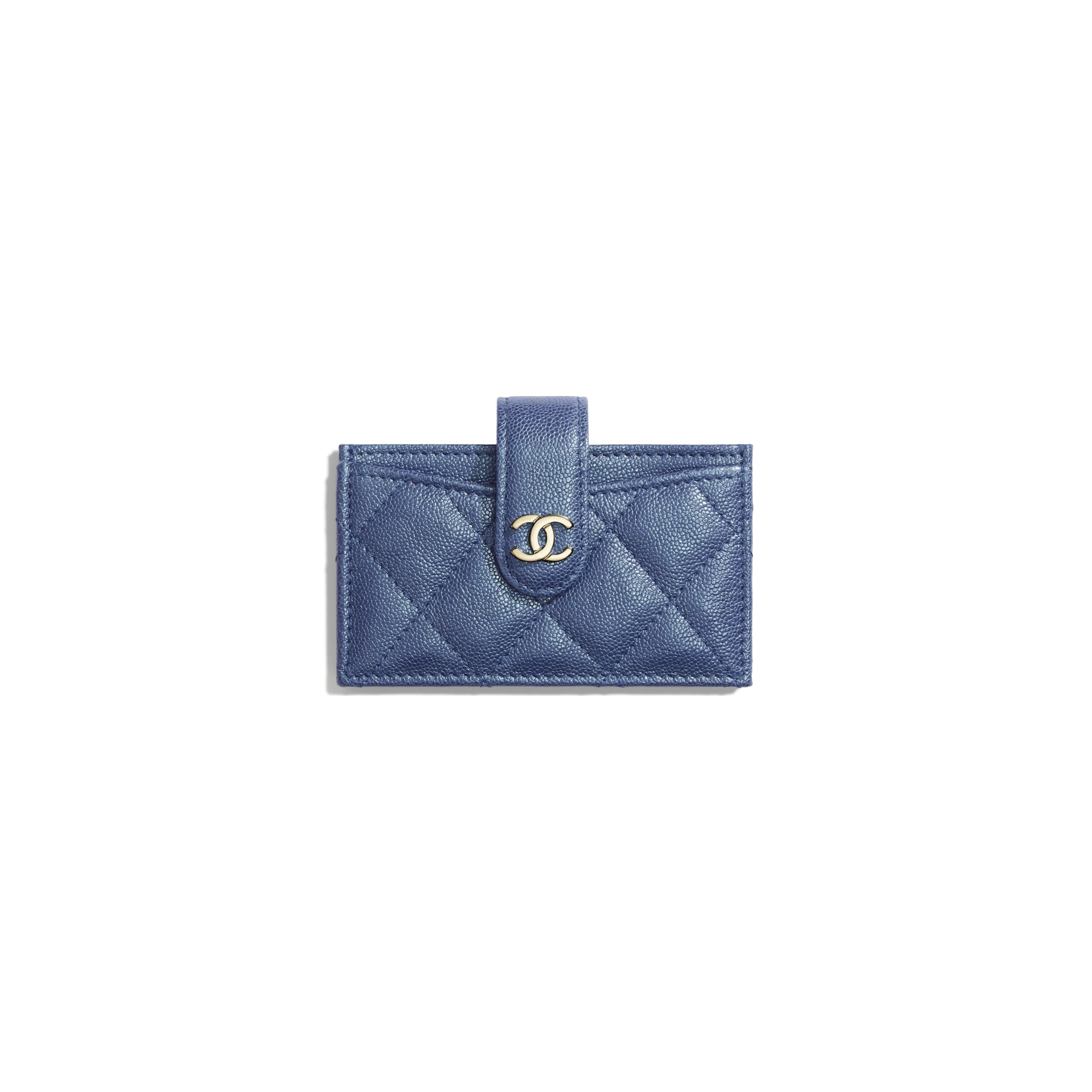 Card Holder - Dark Blue - Iridescent Grained Calfskin & Gold-Tone Metal - Default view - see standard sized version