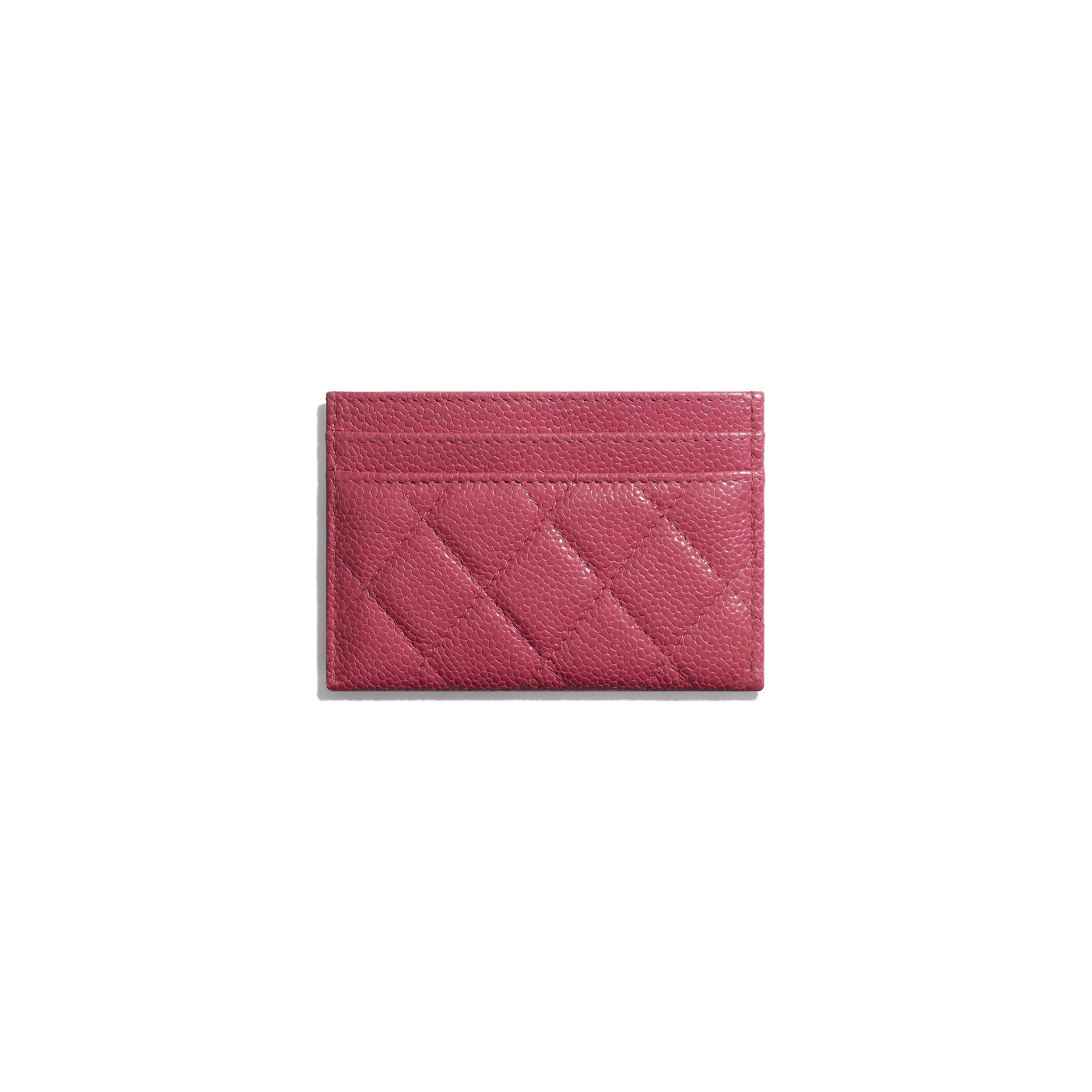 Card Holder - Dark Pink - Grained Calfskin & Lacquered Metal - Alternative view - see standard sized version