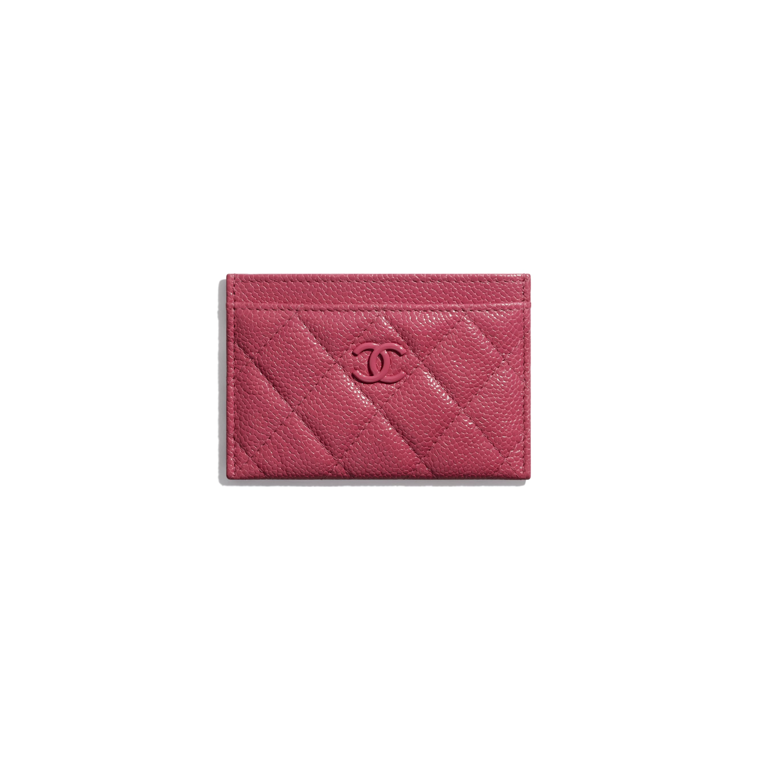 Card Holder - Dark Pink - Grained Calfskin & Lacquered Metal - Default view - see standard sized version