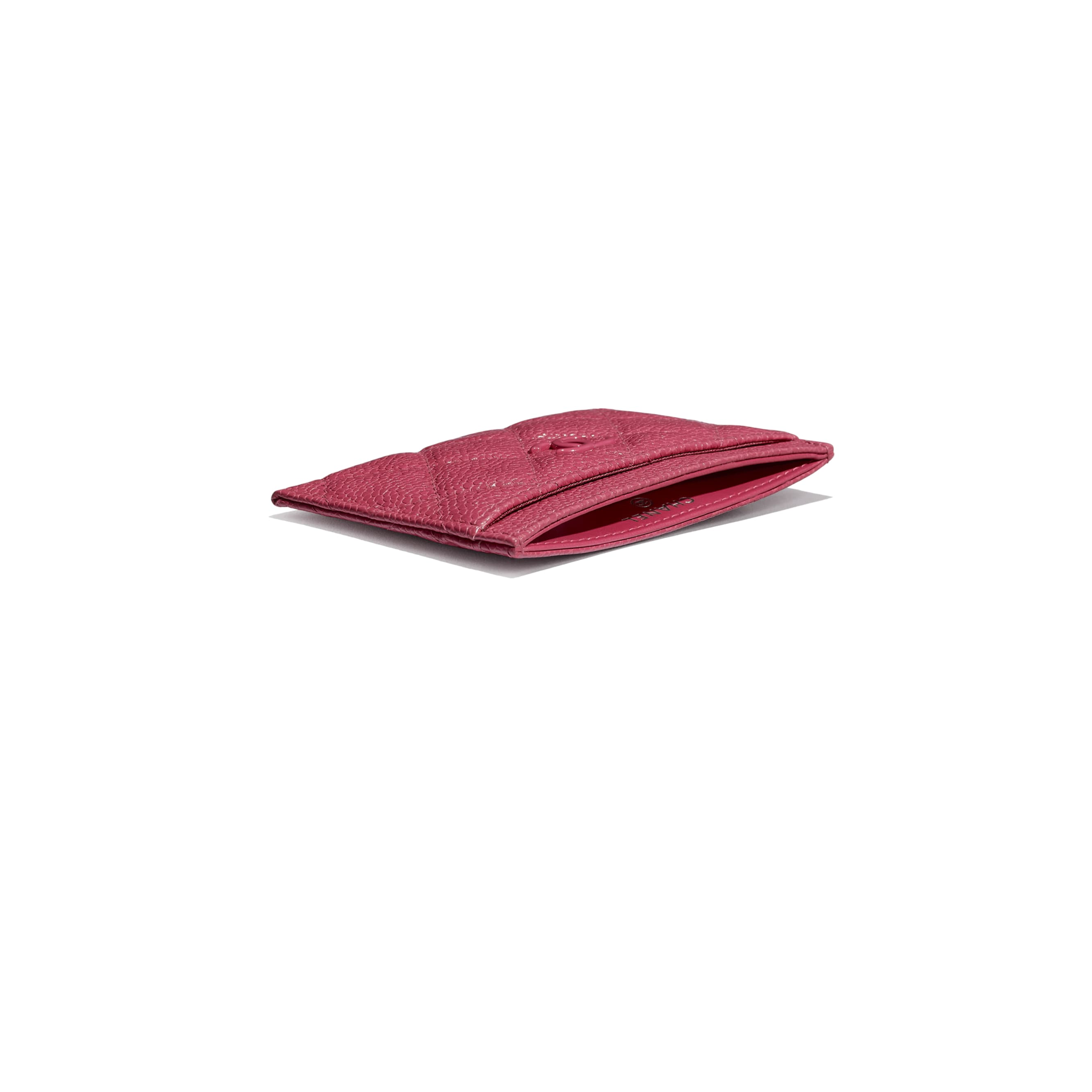 Card Holder - Dark Pink - Grained Calfskin & Lacquered Metal - Extra view - see standard sized version