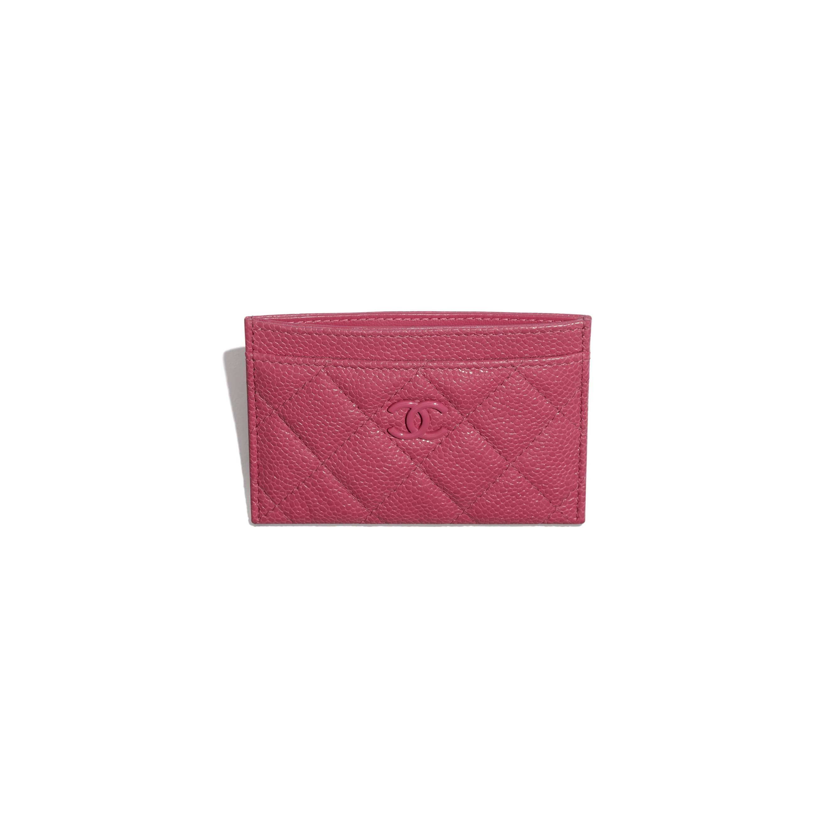 Card Holder - Dark Pink - Grained Calfskin & Lacquered Metal - Other view - see standard sized version