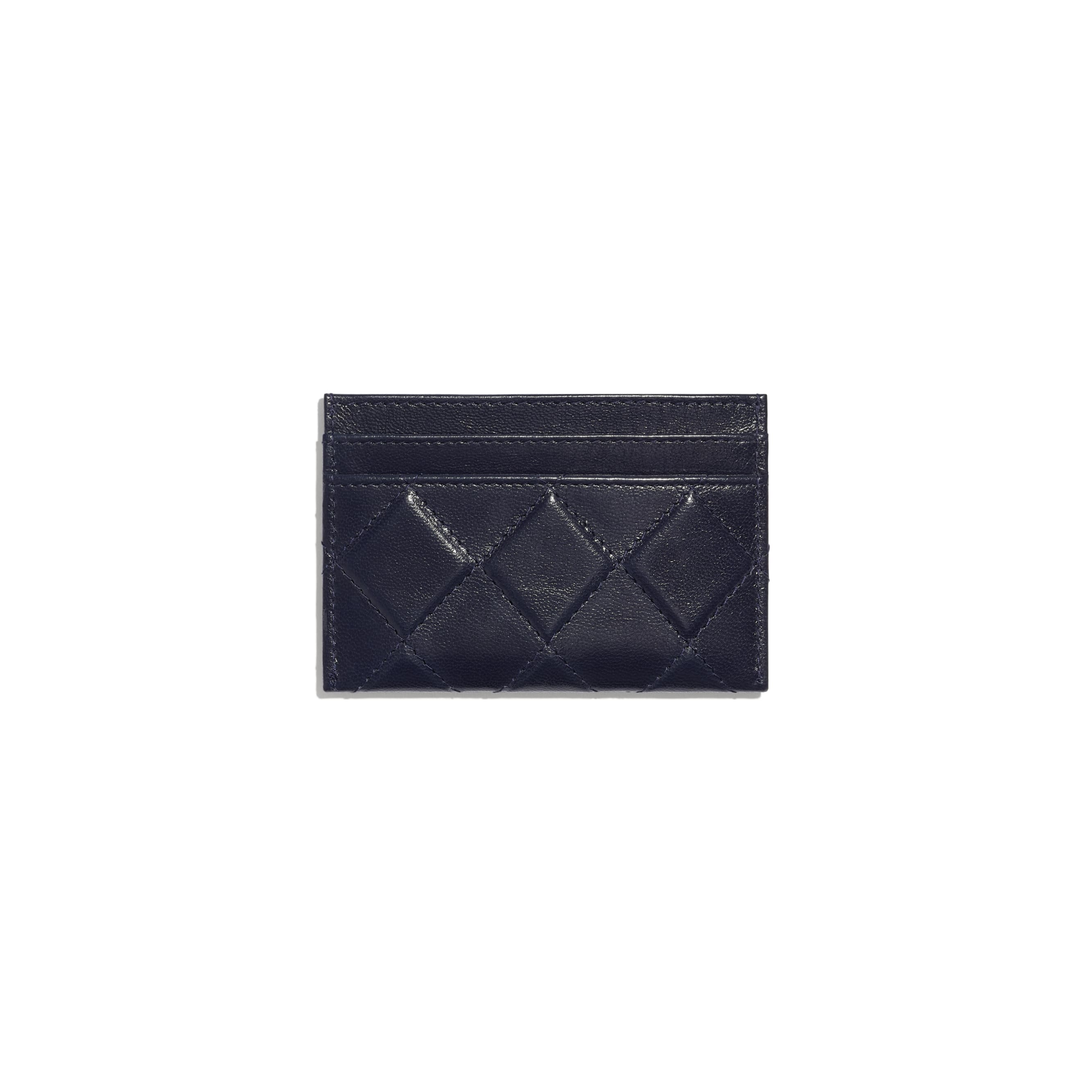 Card Holder - Navy Blue - Shiny Crumpled Goatskin & Gold-Tone Metal - CHANEL - Alternative view - see standard sized version