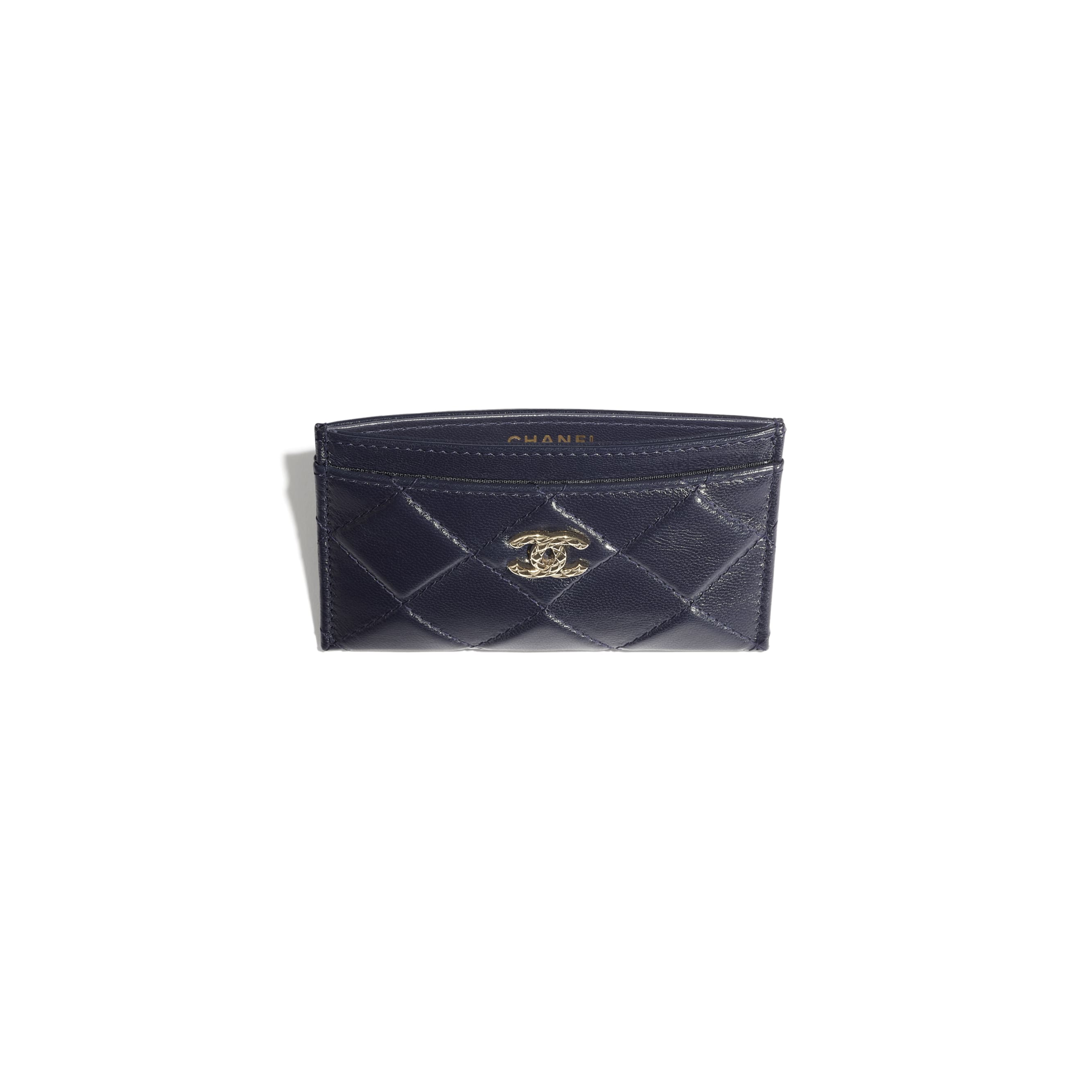 Card Holder - Navy Blue - Shiny Crumpled Goatskin & Gold-Tone Metal - CHANEL - Other view - see standard sized version