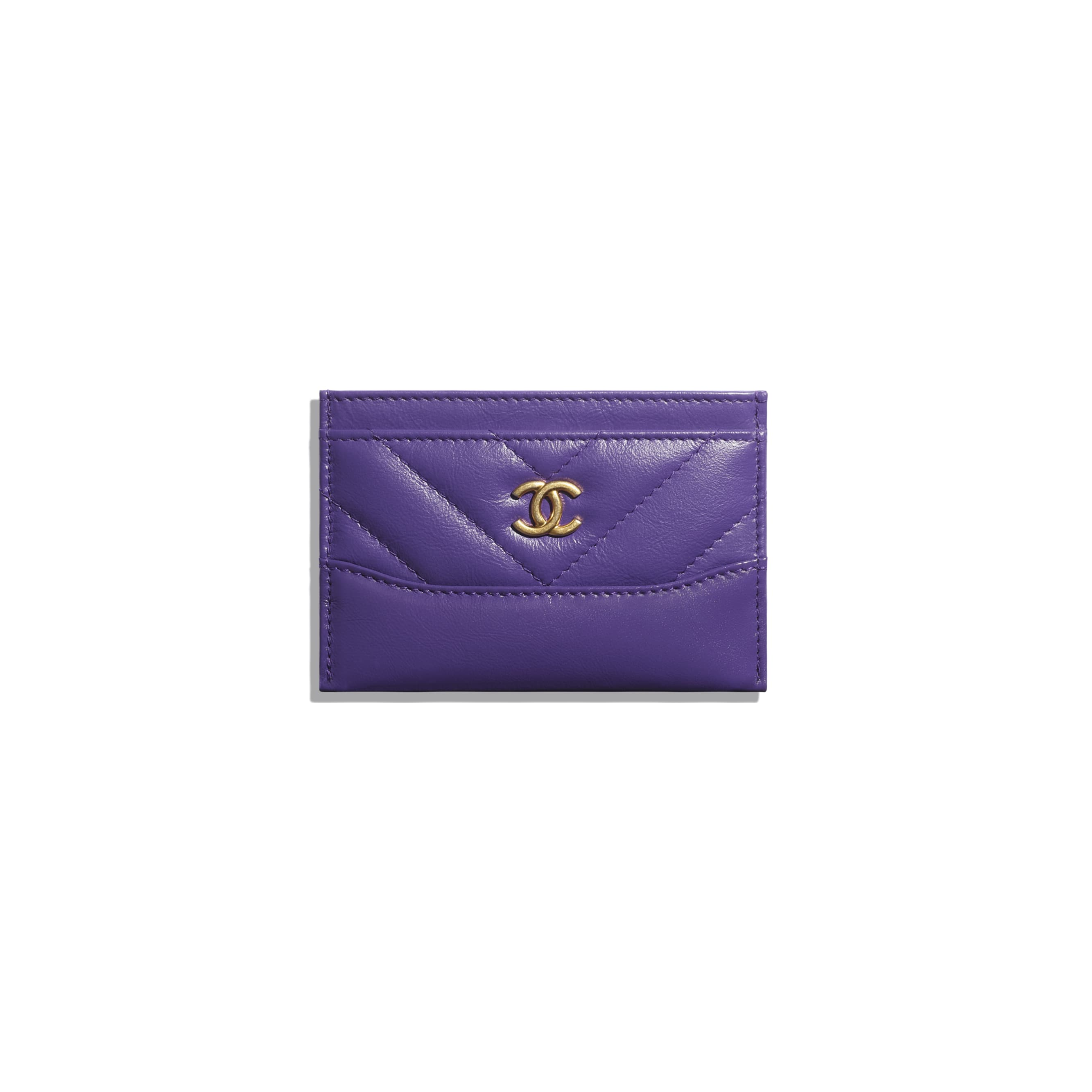 Card Holder - Purple - Aged Calfskin, Smooth Calfskin, Gold-Tone, Silver-Tone & Ruthenium-Finish Metal - CHANEL - Default view - see standard sized version