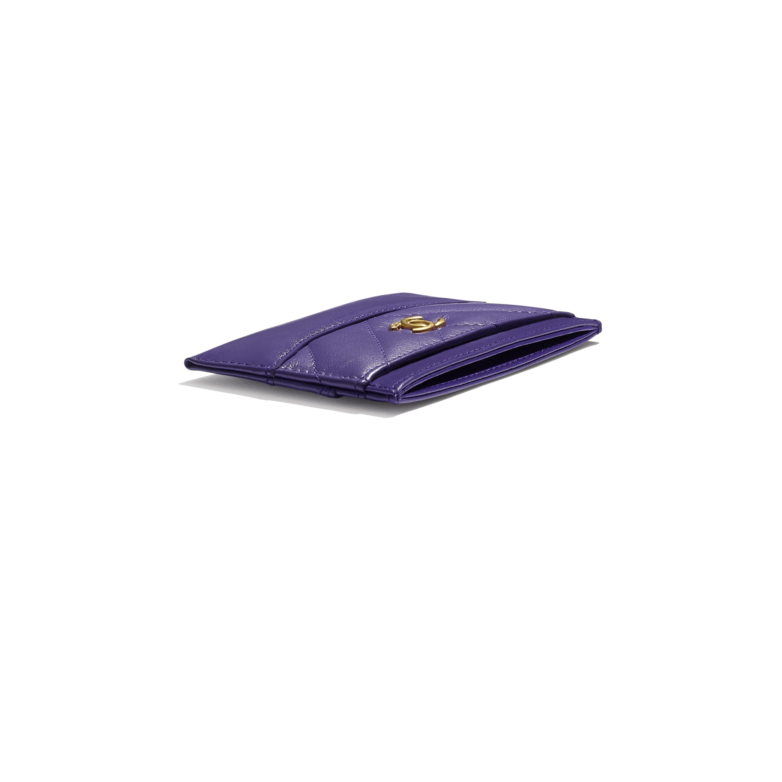 Card Holder - Purple - Aged Calfskin, Smooth Calfskin, Gold-Tone, Silver-Tone & Ruthenium-Finish Metal - CHANEL - Extra view - see standard sized version