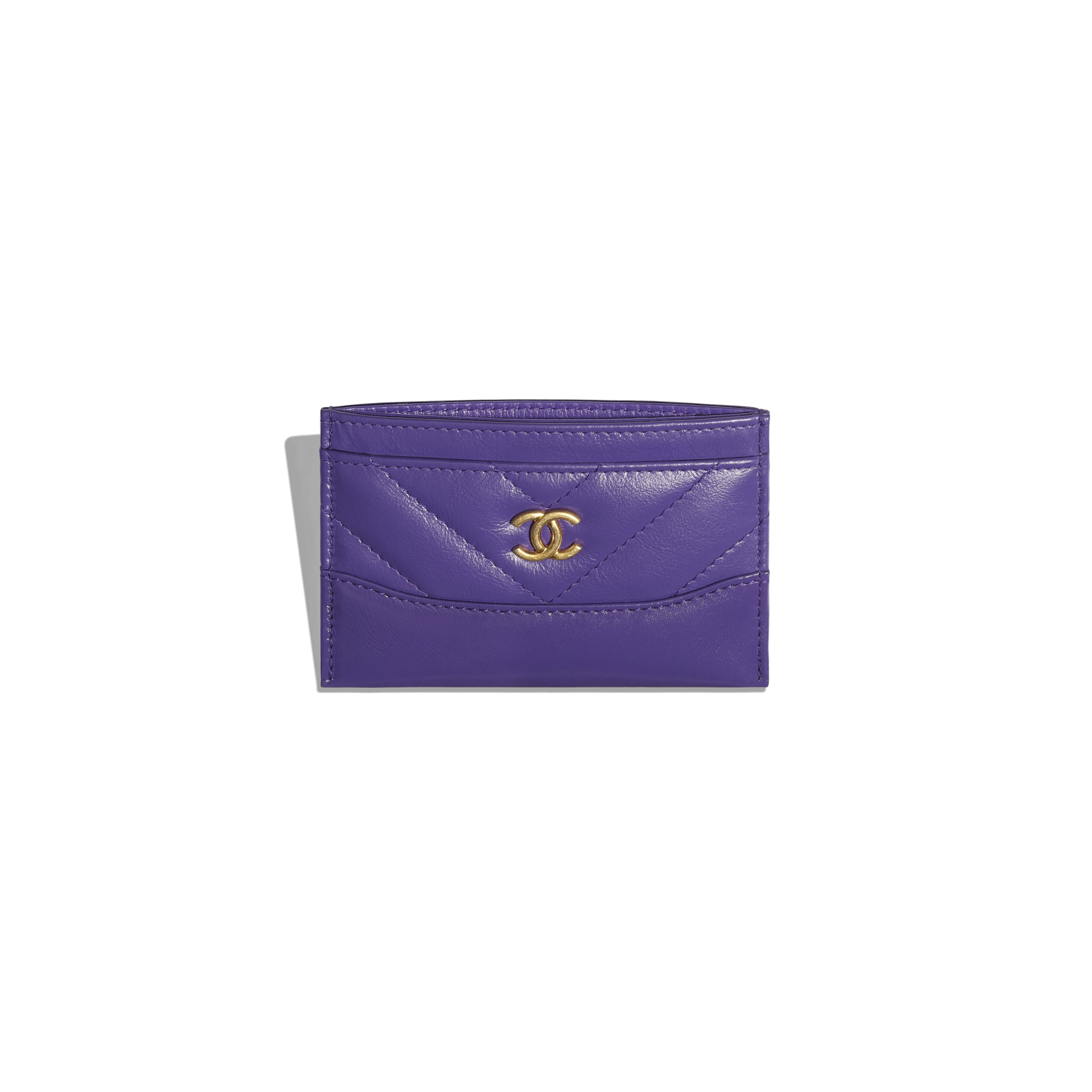 Card Holder - Purple - Aged Calfskin, Smooth Calfskin, Gold-Tone, Silver-Tone & Ruthenium-Finish Metal - CHANEL - Other view - see standard sized version